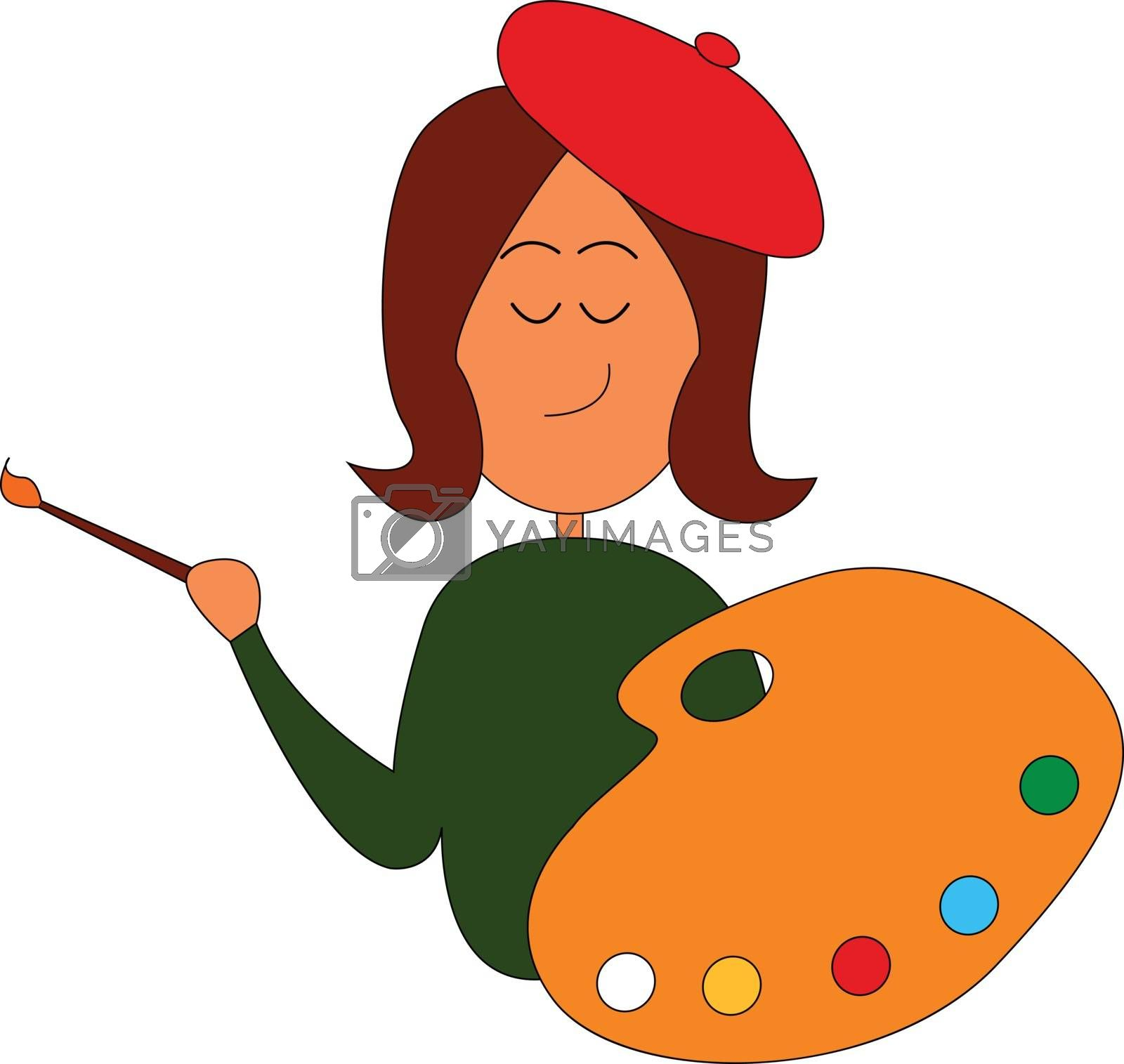 Royalty free image of A girl painter holding a palette and a paintbrush vector or colo by Morphart
