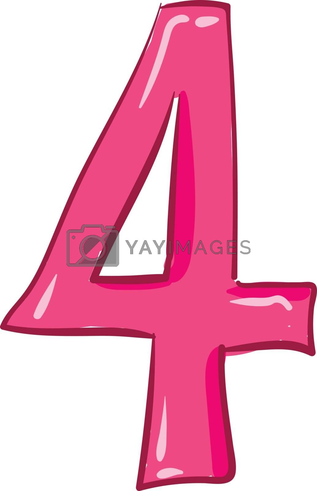Royalty free image of Clipart of the numerical number four or 4 in pink color vector o by Morphart