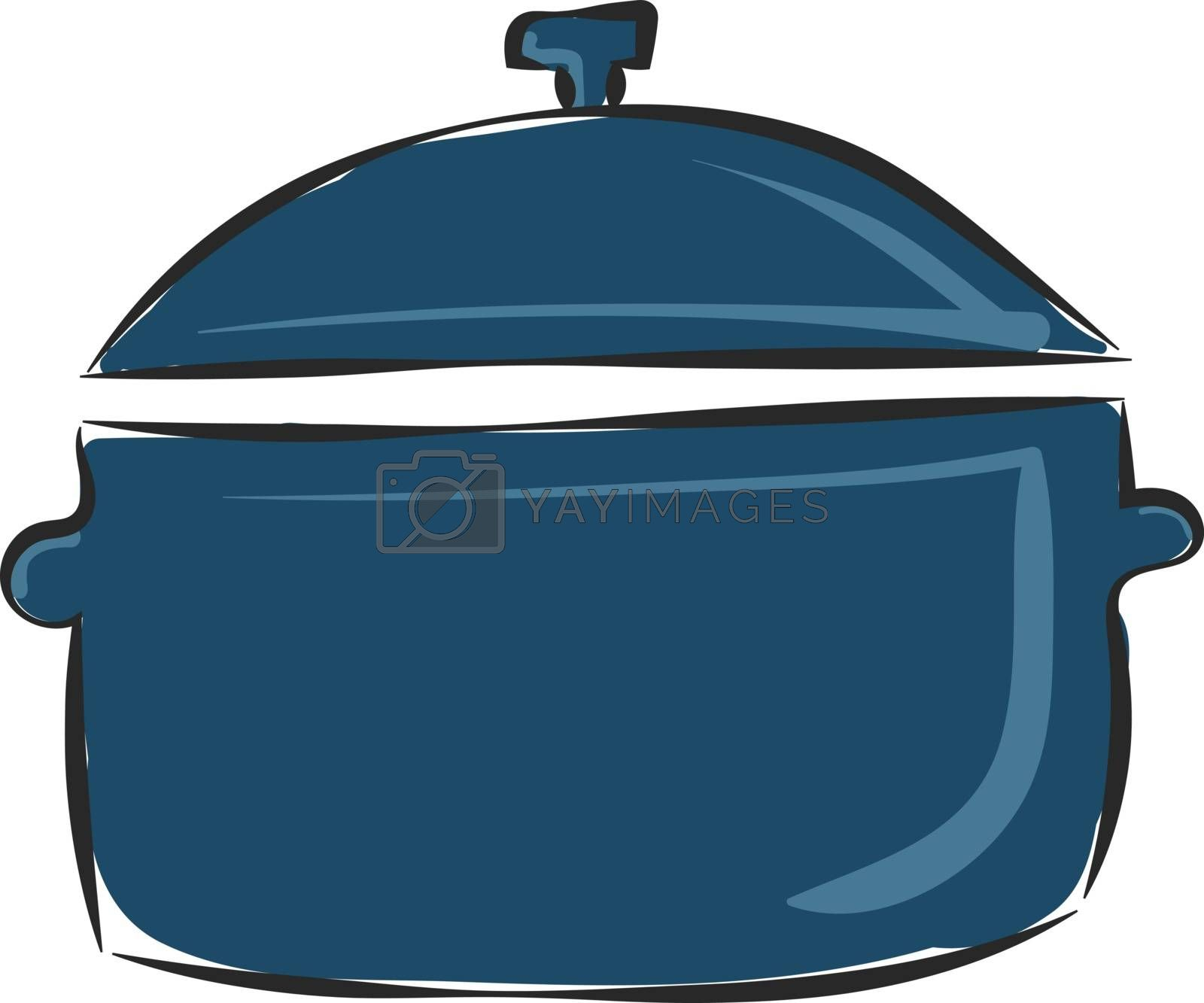 Royalty free image of Clipart of a blue-colored non-stick saucepan provided with a lid by Morphart