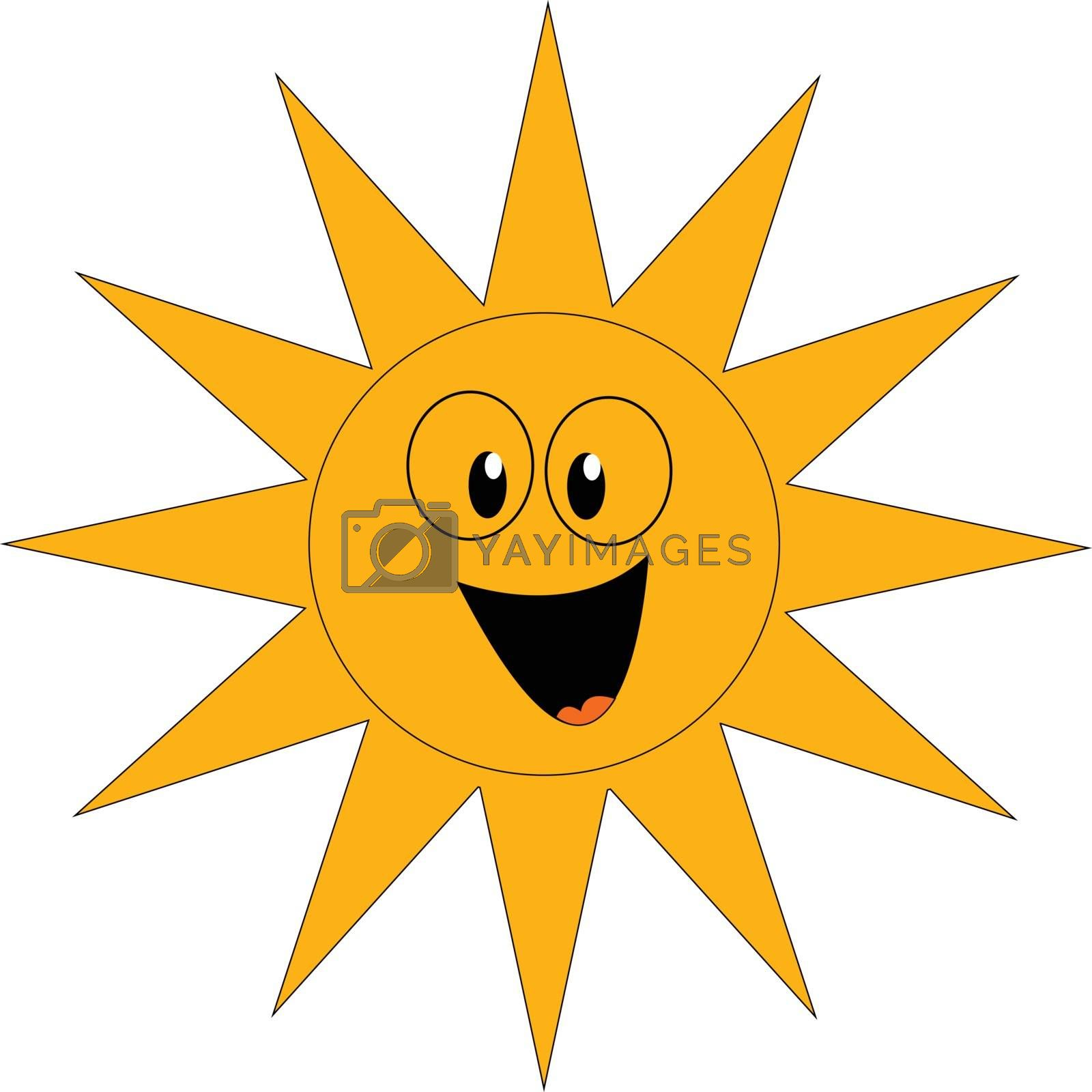 Royalty free image of Clipart of a laughing yellow sun vector or color illustration by Morphart