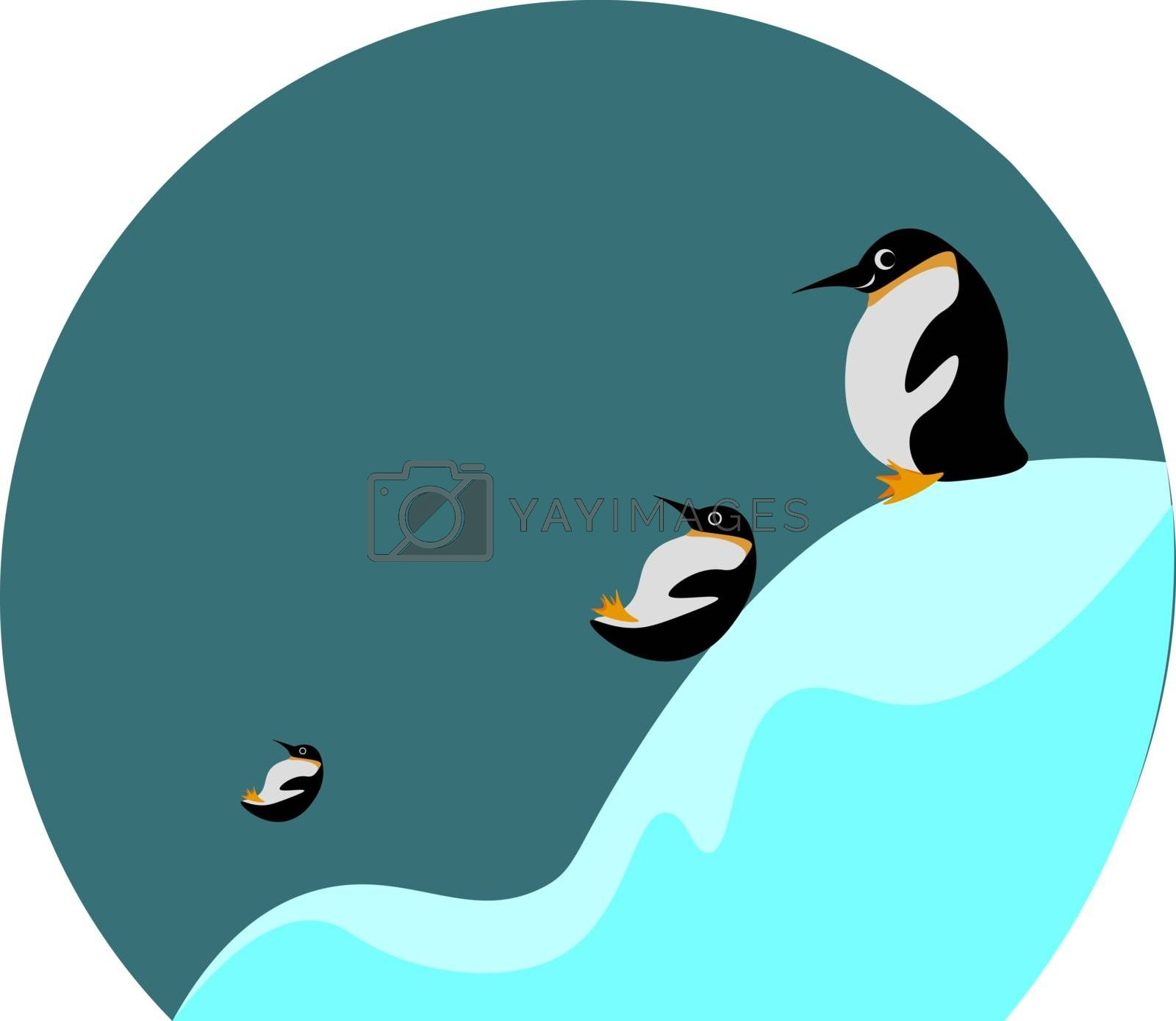 Royalty free image of Cartoon picture of three penguins sliding and playing in the ice by Morphart