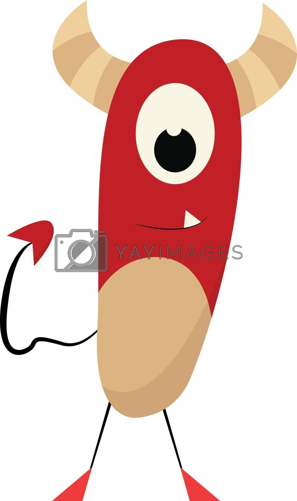 Royalty free image of Clipart of a red-colored monster with a tail  vector or color il by Morphart