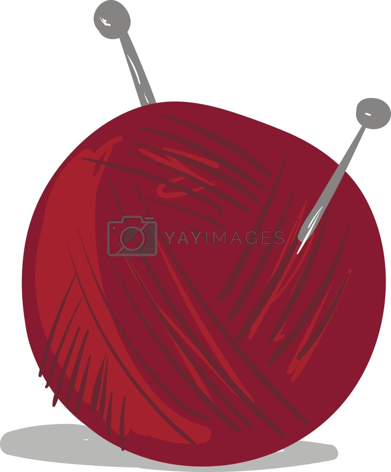 Royalty free image of Clipart of a red-colored wool ball vector or color illustration by Morphart