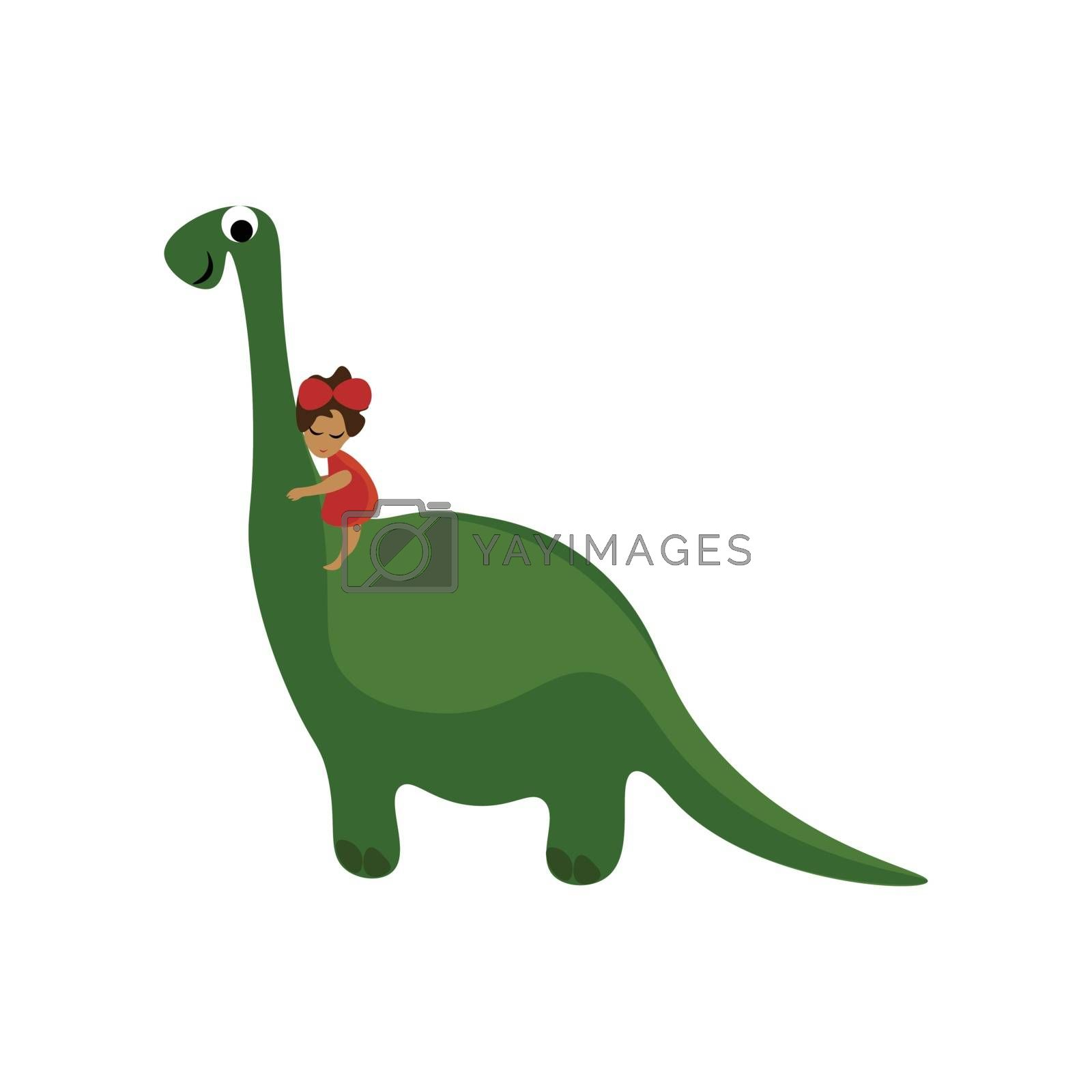 Royalty free image of Cartoon funny picture of a cute little girl riding on a big gree by Morphart