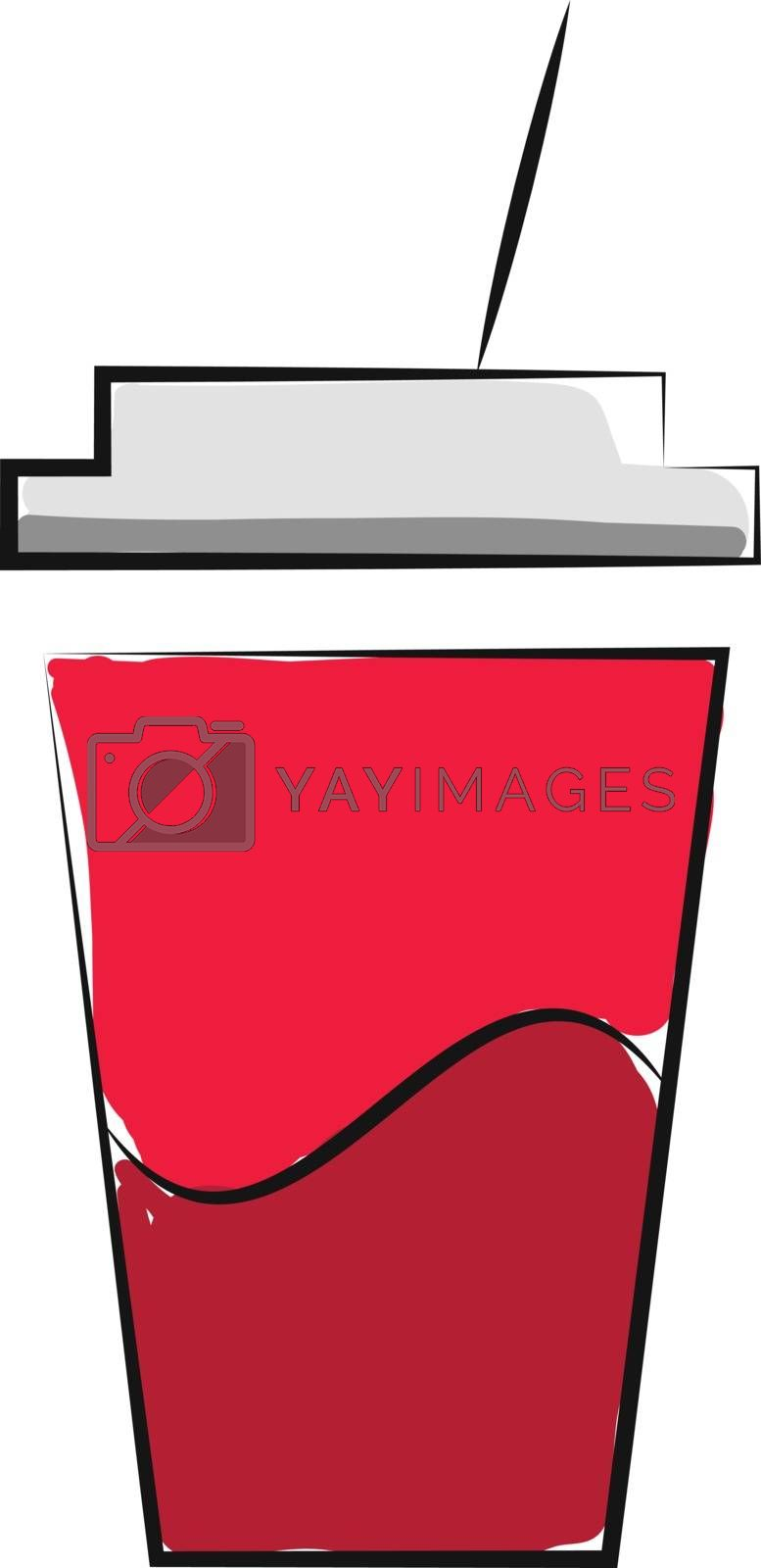 Royalty free image of Juice in a disposable plastic red party cup with lid and straw v by Morphart