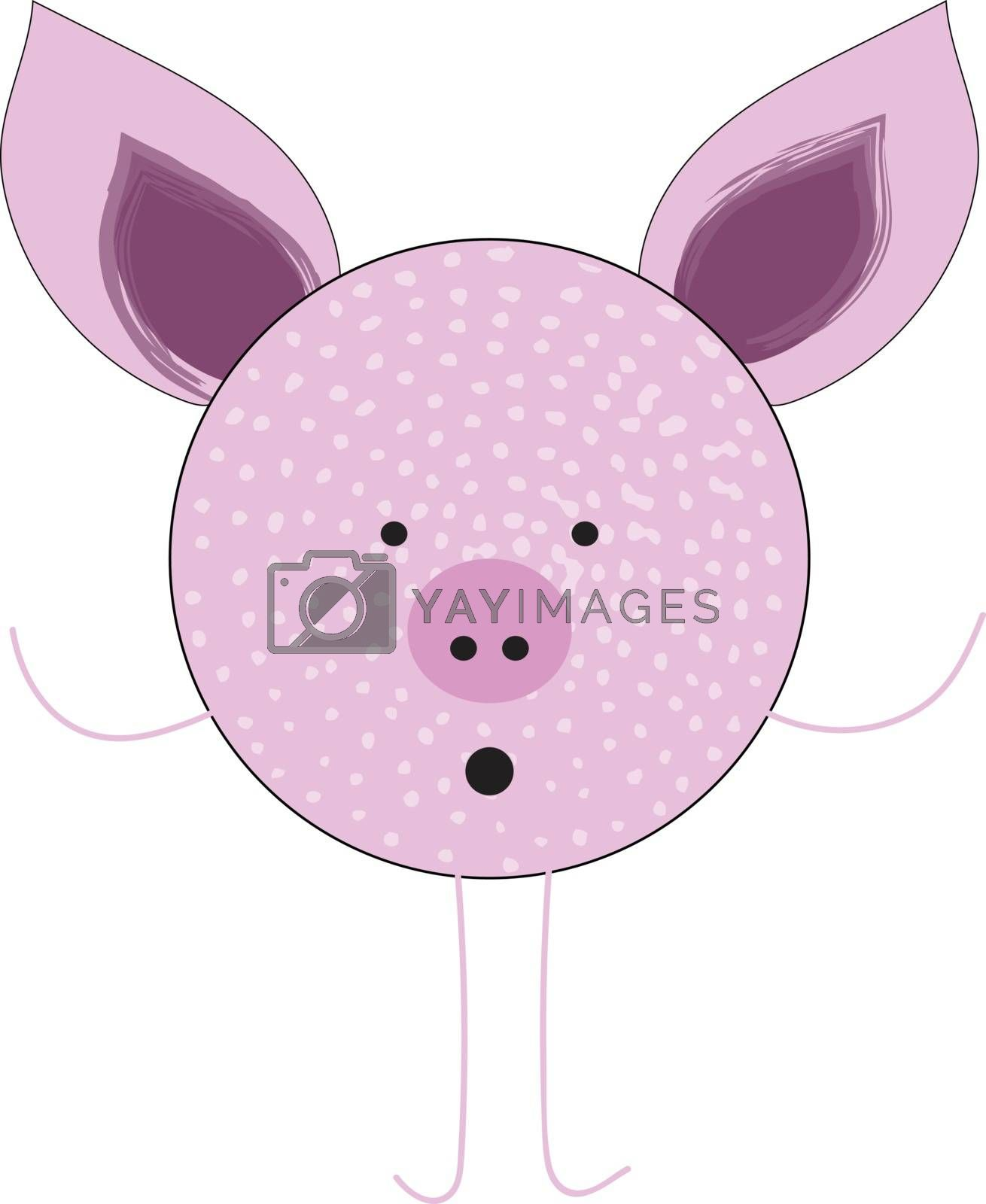 Royalty free image of Cartoon purple-colored pig vector or color illustration by Morphart