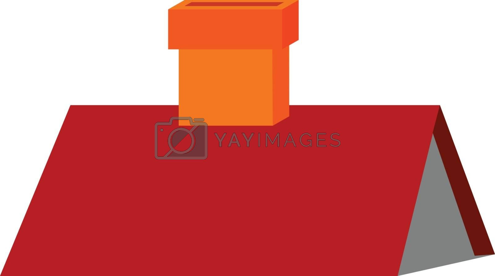 Royalty free image of Clipart of a red-colored triangular roof with a chimney vector o by Morphart