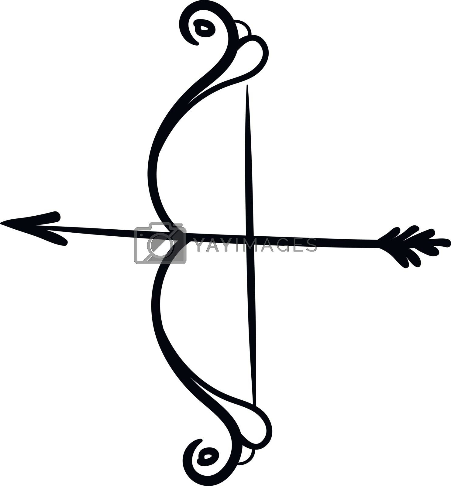 Royalty free image of Silhouette of bow and arrow vector or color illustration by Morphart