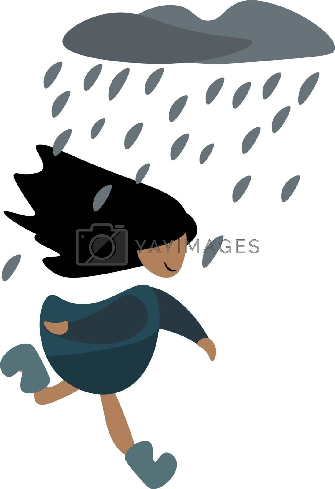 Royalty free image of Clipart of a small girl running to get out of the rain vector or by Morphart