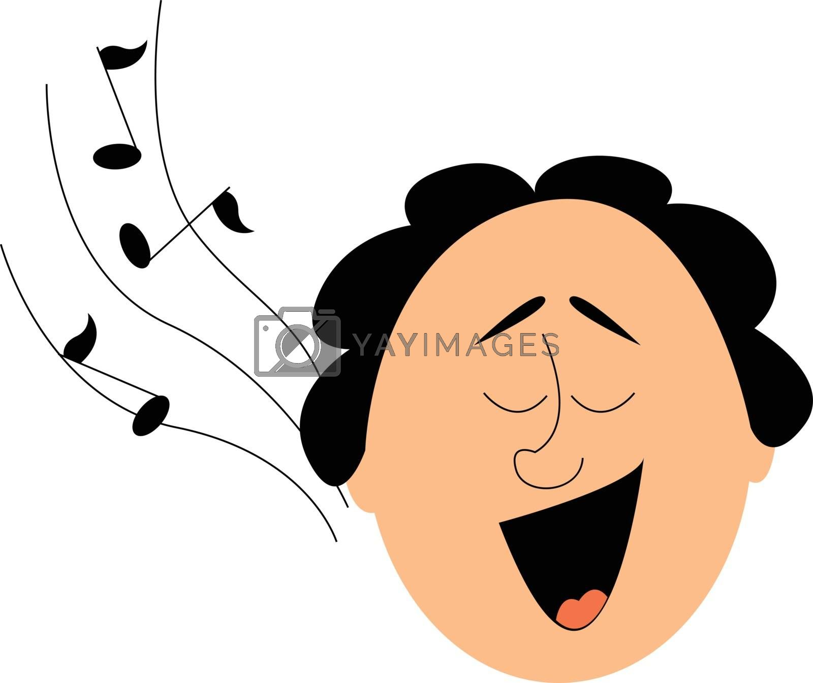 Royalty free image of Portrait of a funny-looking man singing viewed from the front an by Morphart