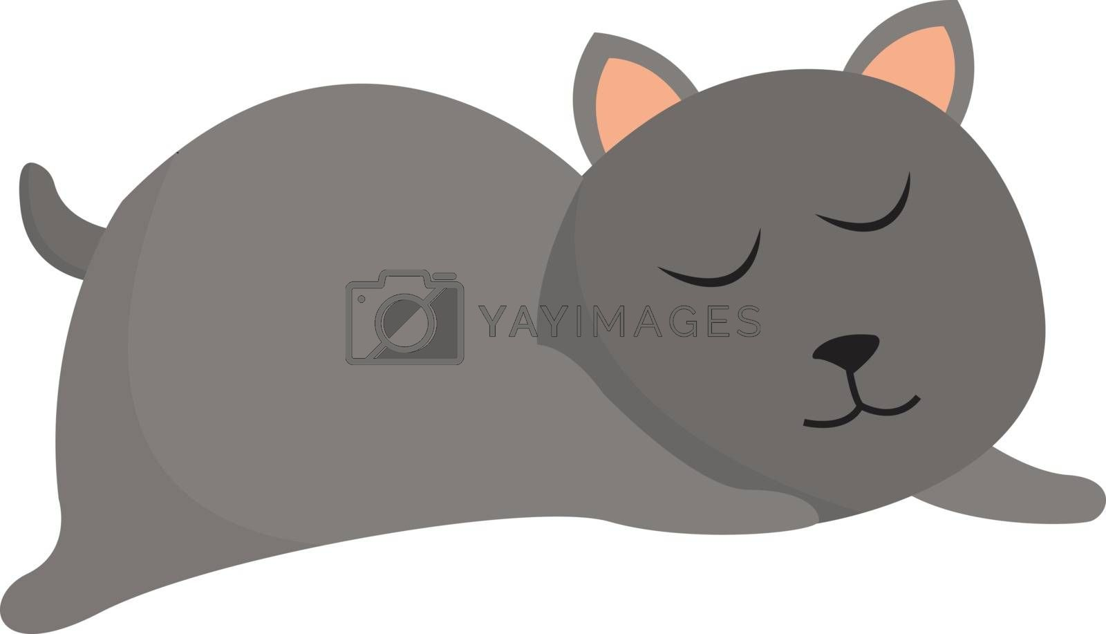 Royalty free image of Clipart of a grey cat sleeping set on isolated white background  by Morphart