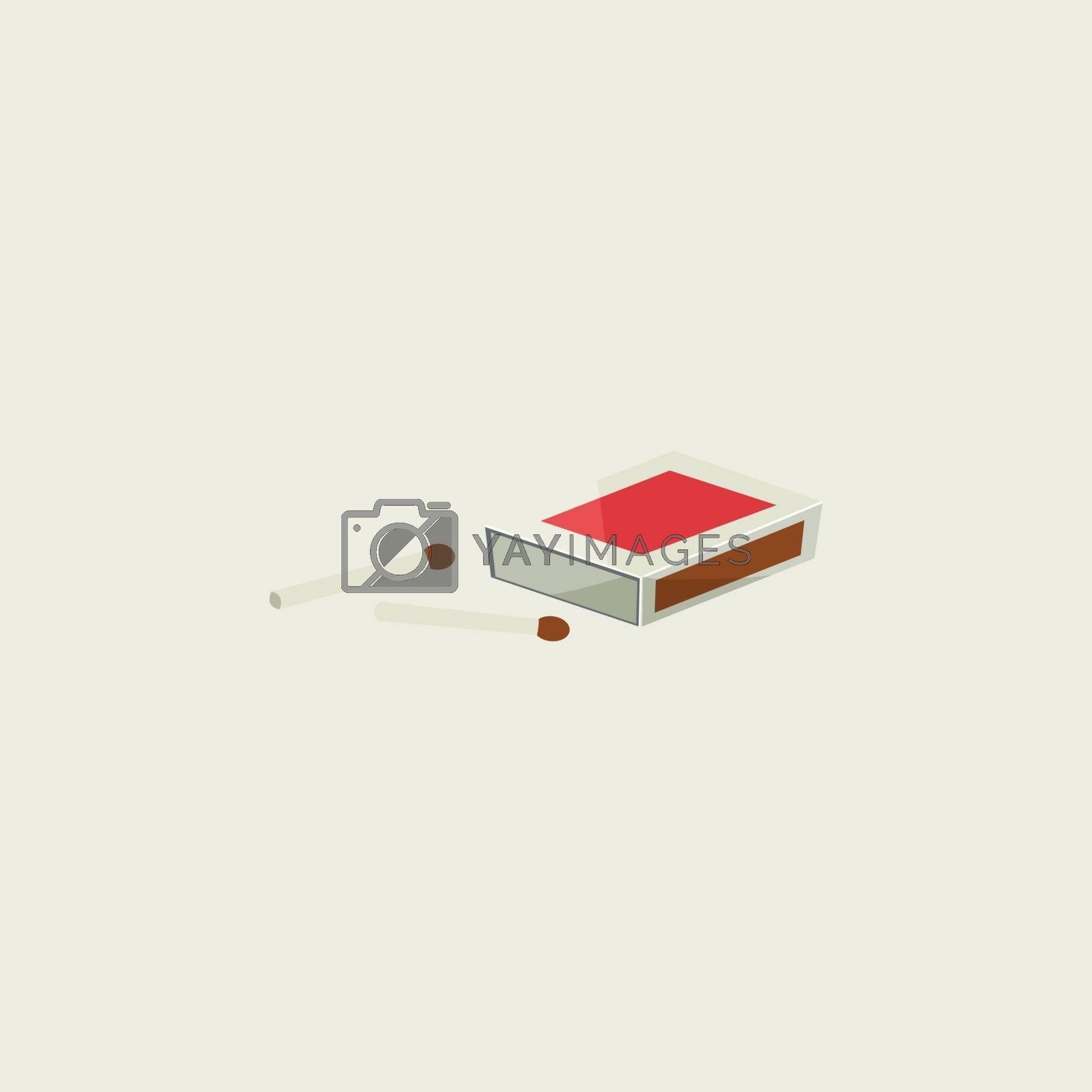 Royalty free image of Cartoon matchbox with two unburnt sticks lying closer vector or  by Morphart