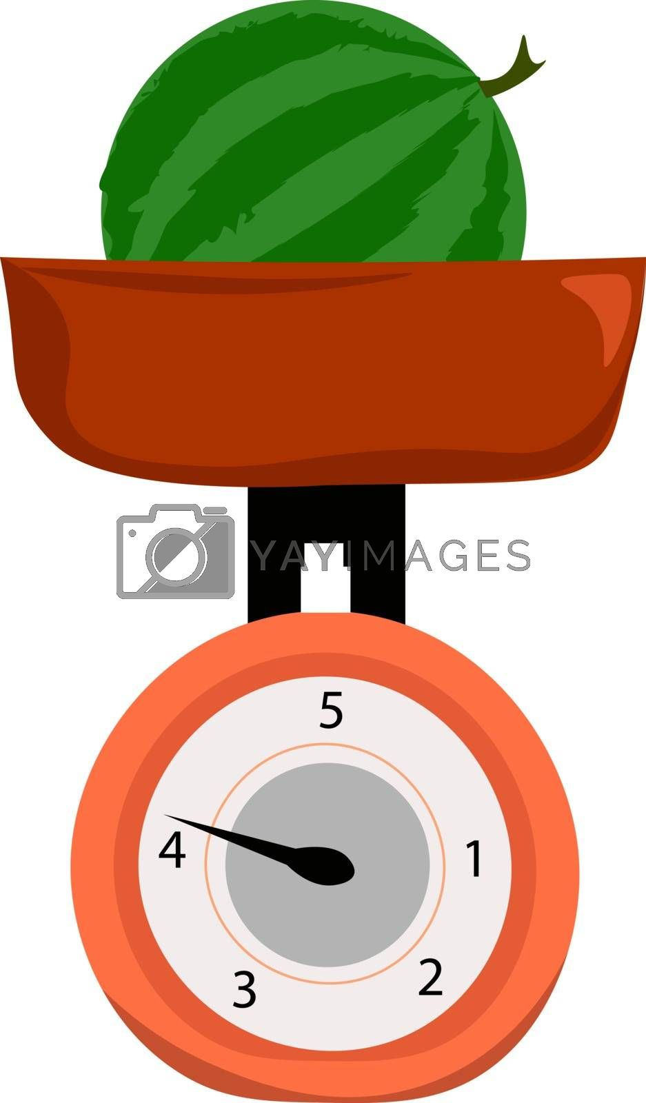 Royalty free image of Clipart of a whole watermelon weighed on weighing scale vector o by Morphart