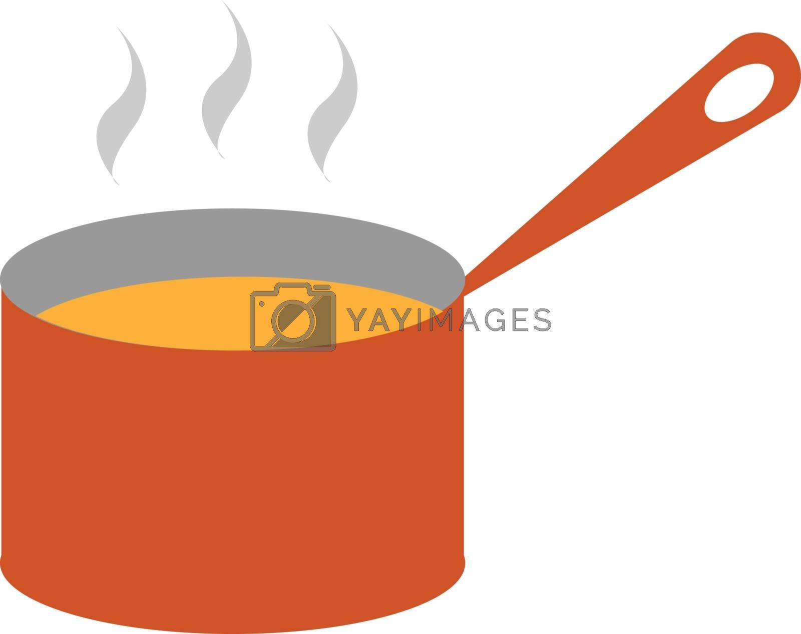 Royalty free image of Clipart of steaming soup from a giant red saucepan vector or col by Morphart