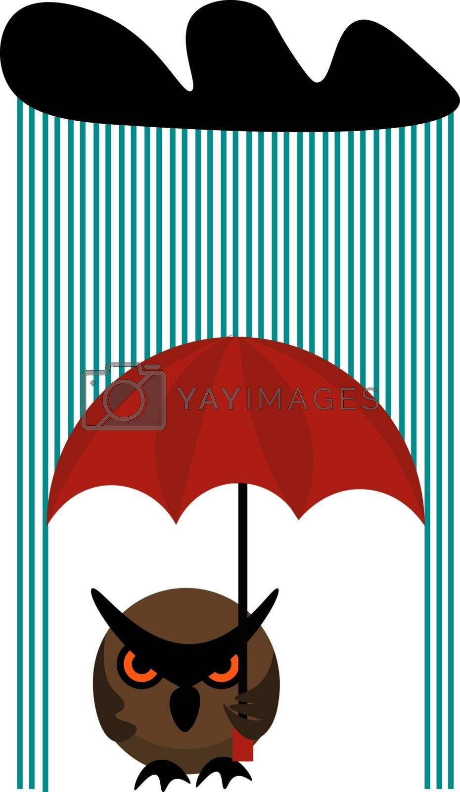Royalty free image of Clipart of an owl holding an umbrella on a rainy day vector or c by Morphart