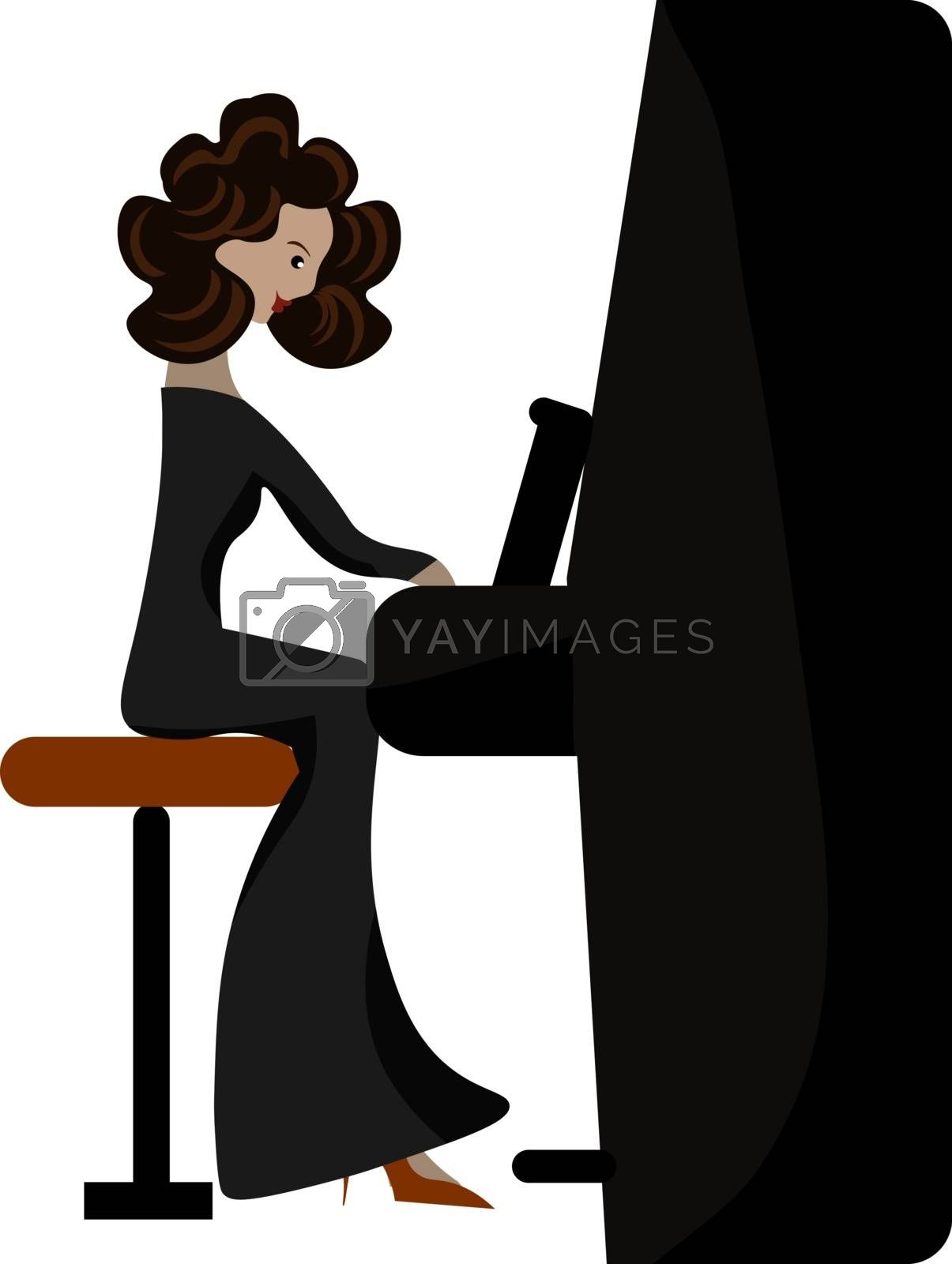 Royalty free image of A beautiful woman playing fortepiano vector or color illustratio by Morphart