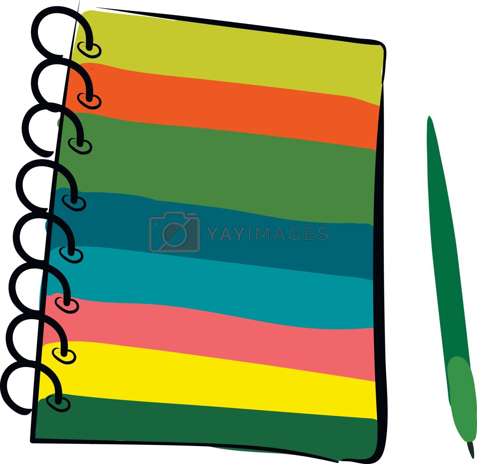 Royalty free image of Clipart of a multi-colored wire-bound notebook and a green-color by Morphart