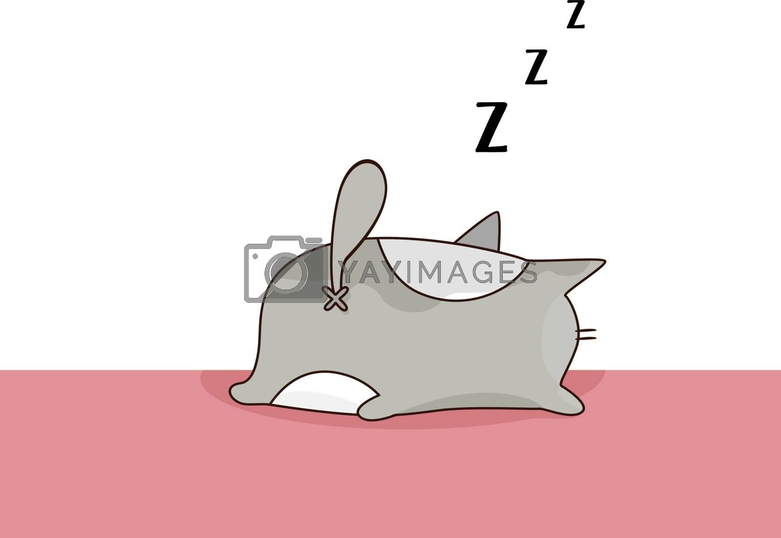 Royalty free image of Emoji of a cat snoring while sleeping vector or color illustrati by Morphart