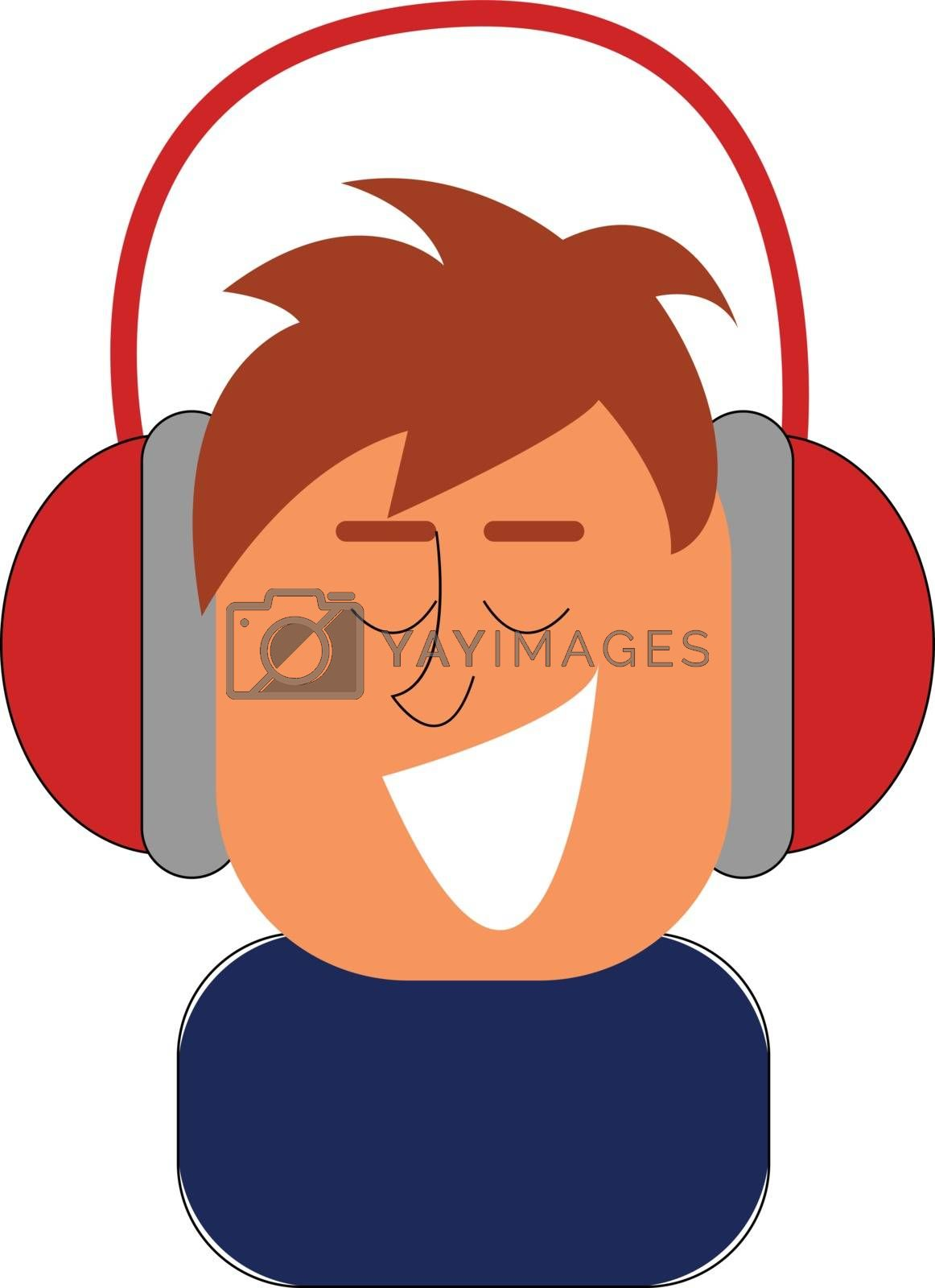 Royalty free image of Clipart of a boy listening to music with his red headphones vect by Morphart