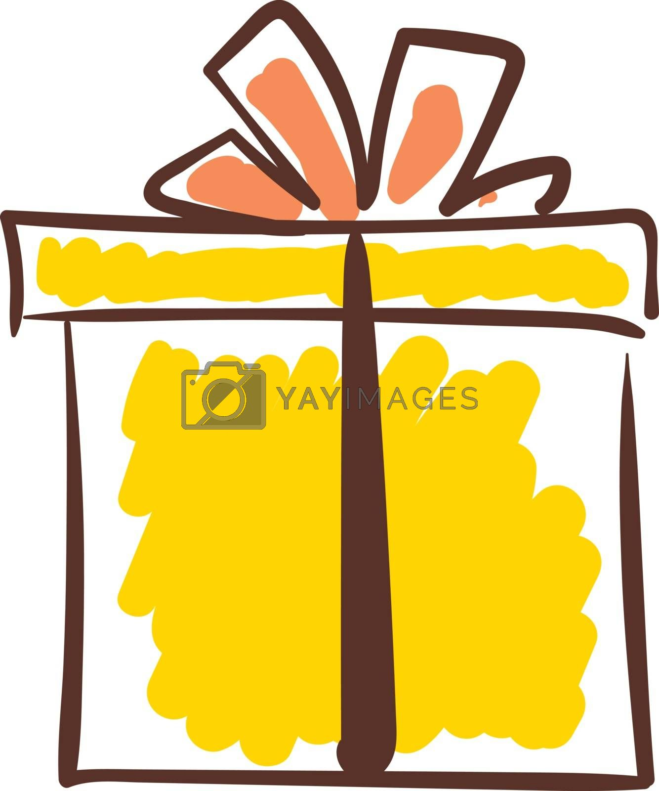 Royalty free image of Sketch of a yellow-colored gift box vector or color illustration by Morphart