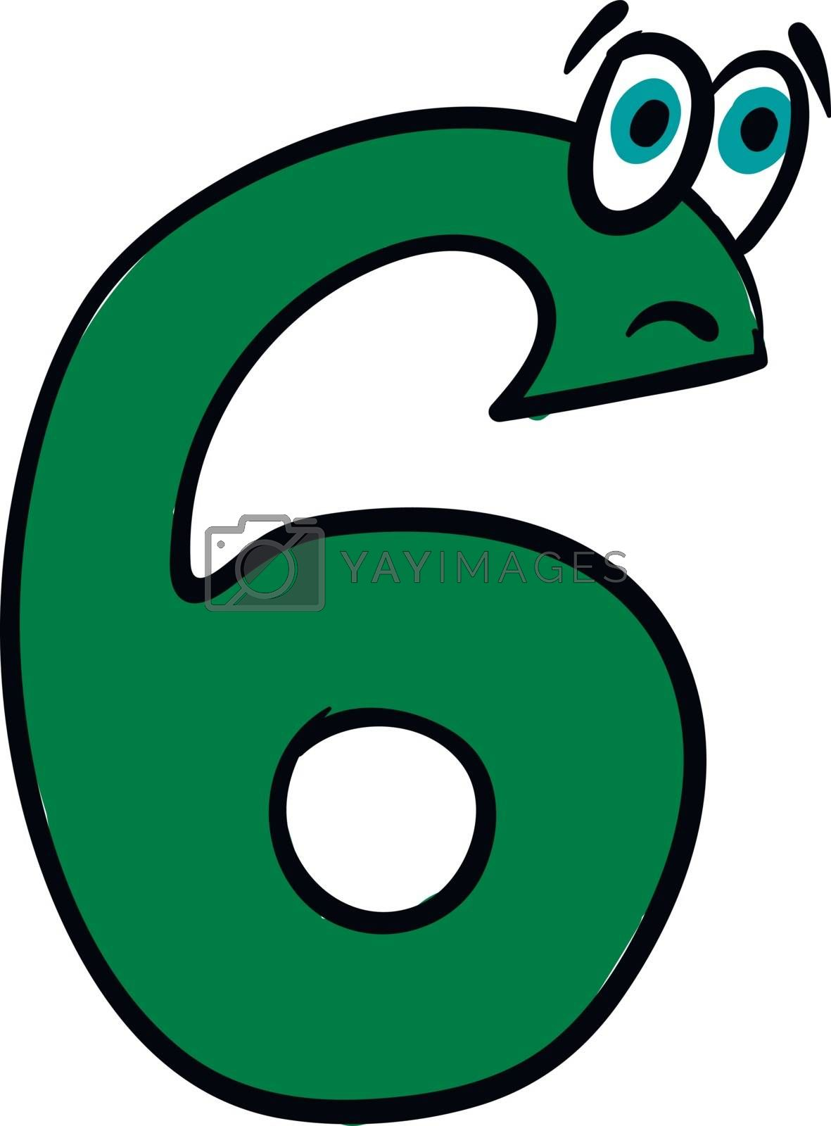 Royalty free image of Emoji of the sad green number six vector or color illustration by Morphart