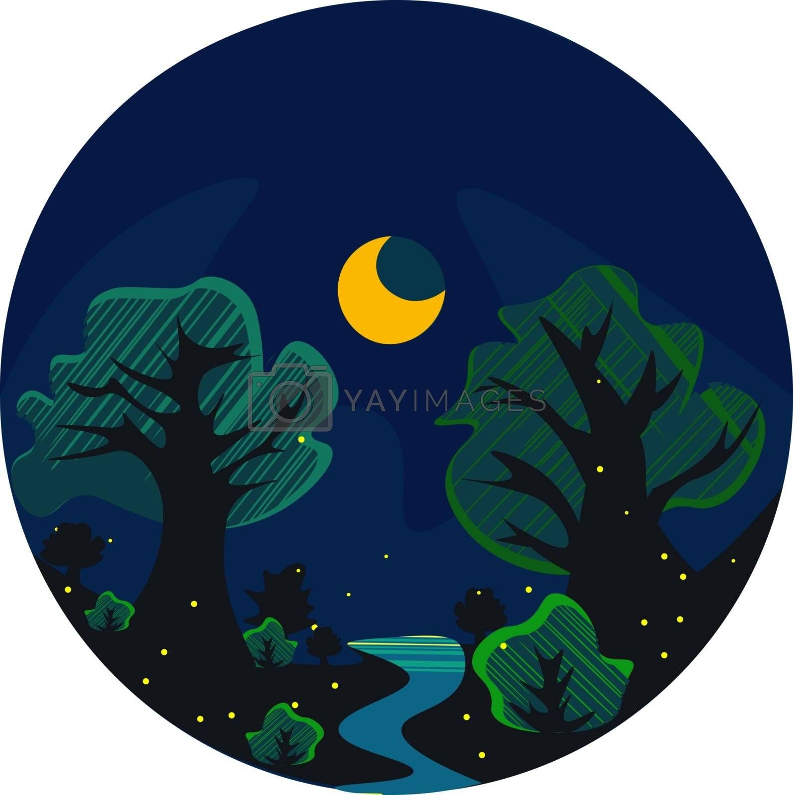 Royalty free image of Portrait of a forest at night over dark background vector or col by Morphart