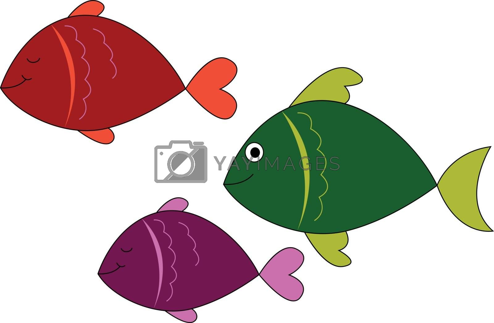 Royalty free image of Emoji of three colorful fish vector or color illustration by Morphart