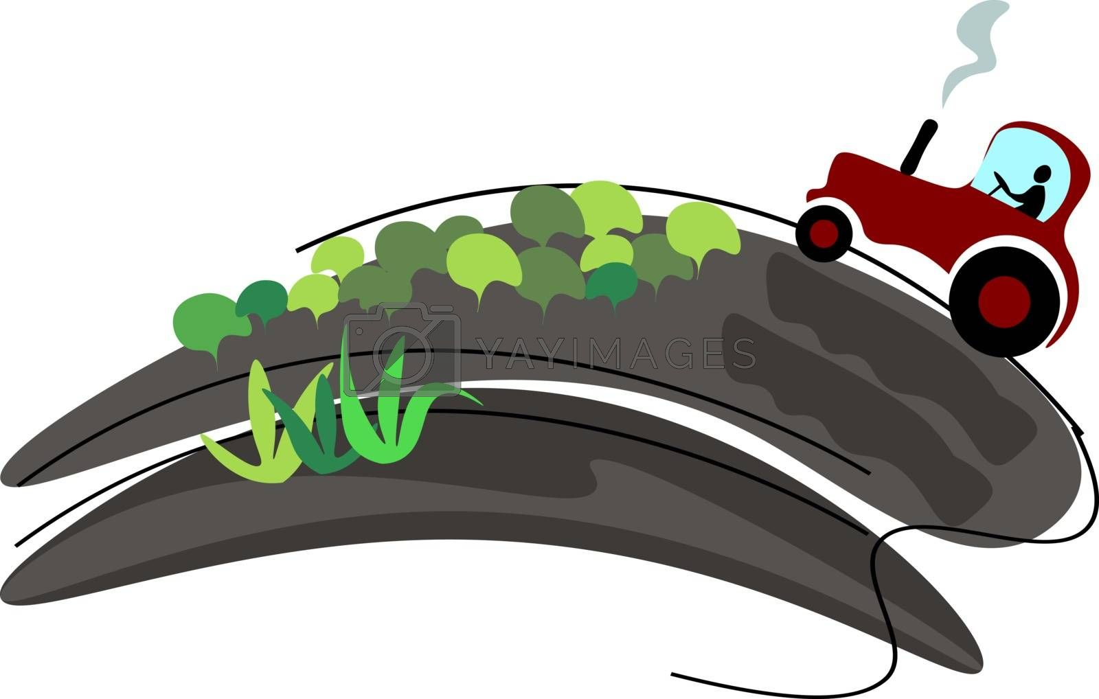 Royalty free image of Painting of a red-colored tractor traveling along the sloping ro by Morphart