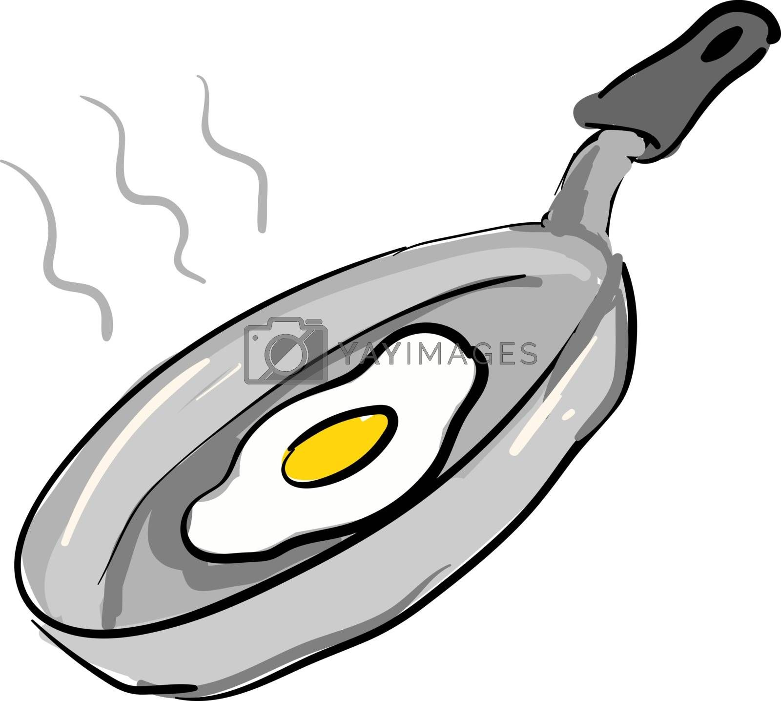 Royalty free image of Grey pan with fried egg illustration vector on white background by Morphart