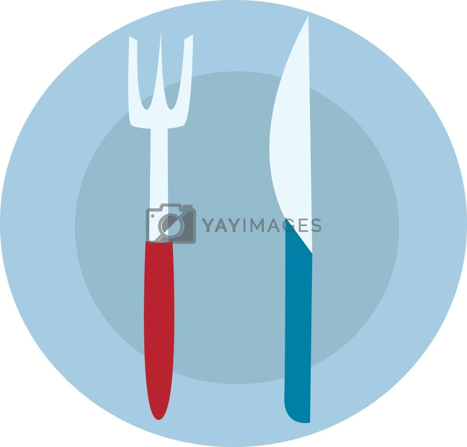 Royalty free image of Blue food plate with fork and knife illustration vector on white by Morphart