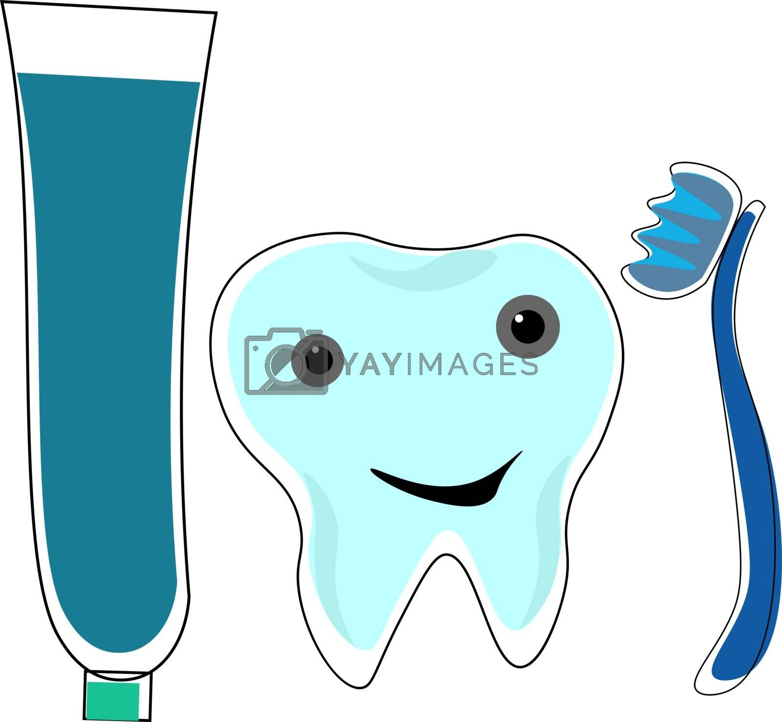 Royalty free image of Clipart of a tooth emoji along with a tooth brush and a tooth pa by Morphart