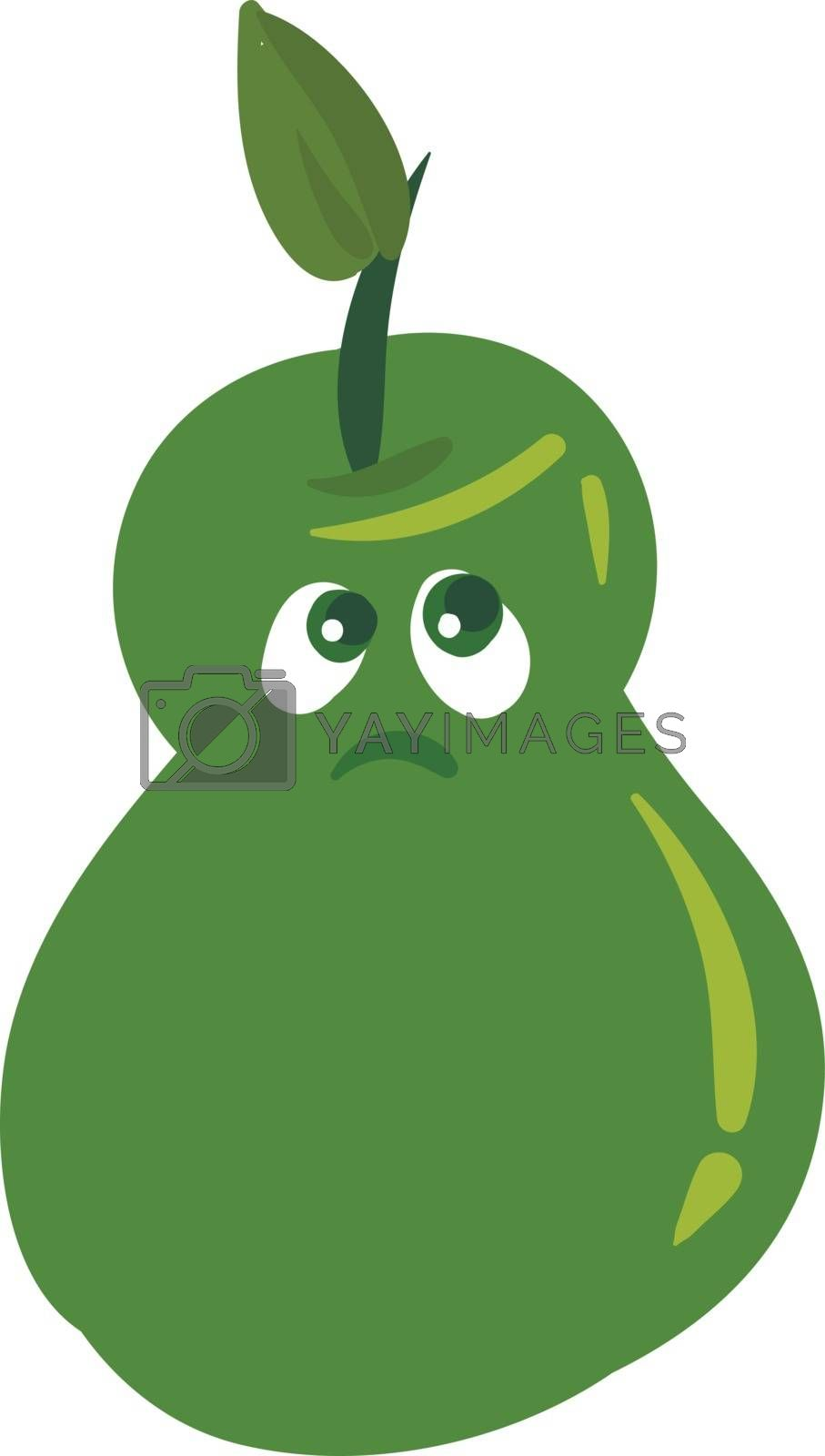 Royalty free image of Emoji of a sad green-colored pear set on isolated white backgrou by Morphart