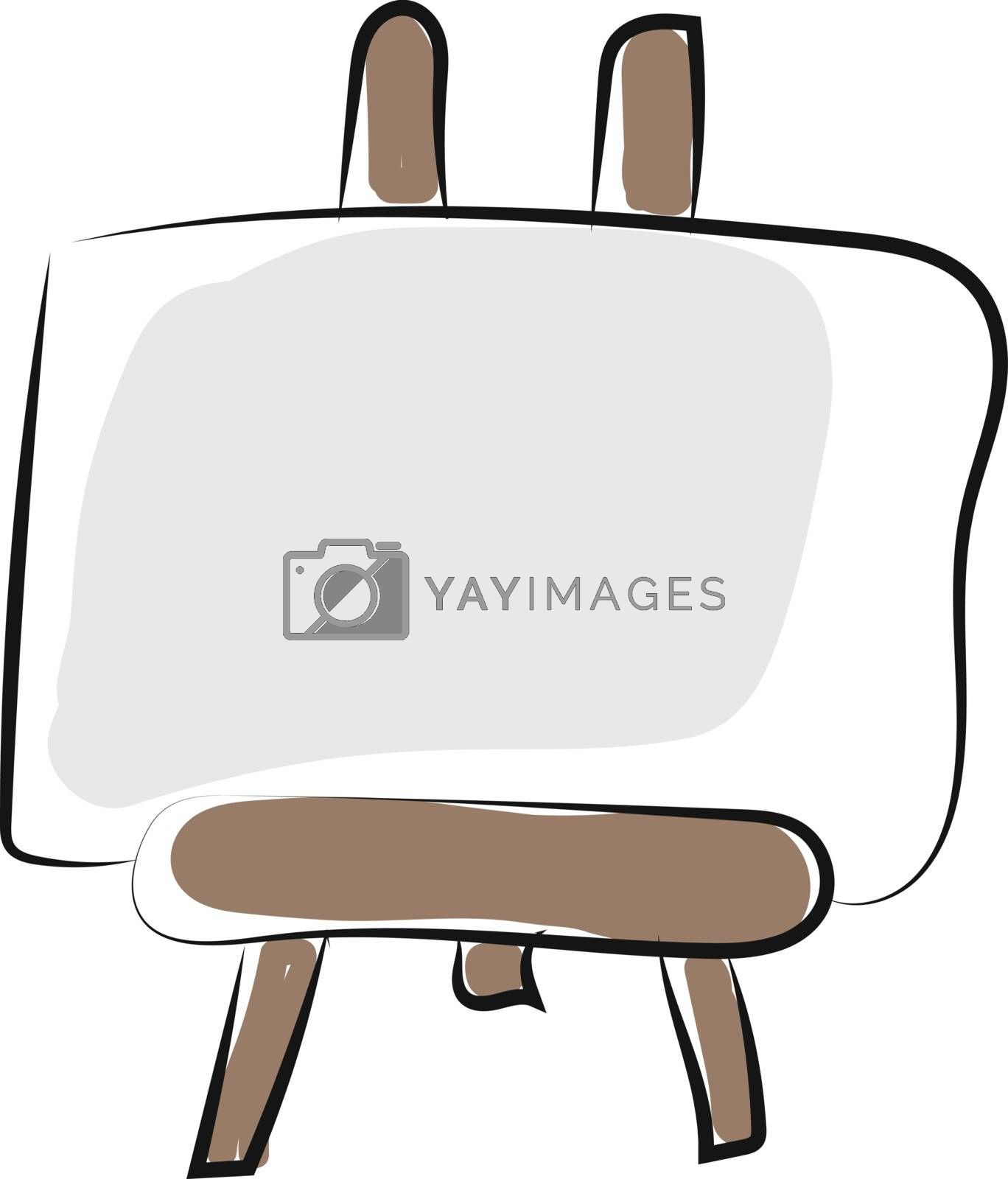Royalty free image of Clipart of a flat and big white photo frame mounted on a wooden  by Morphart