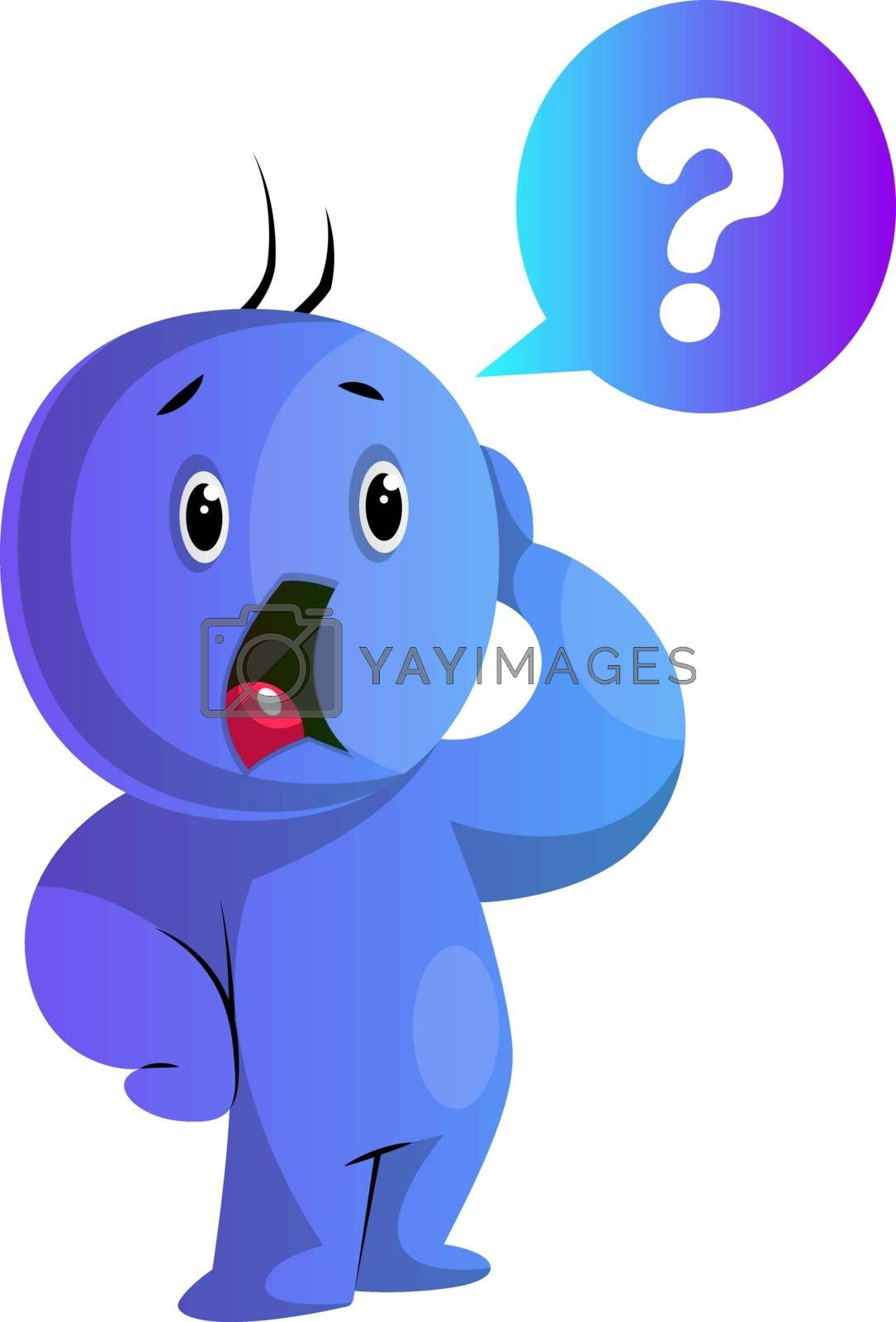 Royalty free image of Blue cartoon caracter worried illustration vector on white backg by Morphart