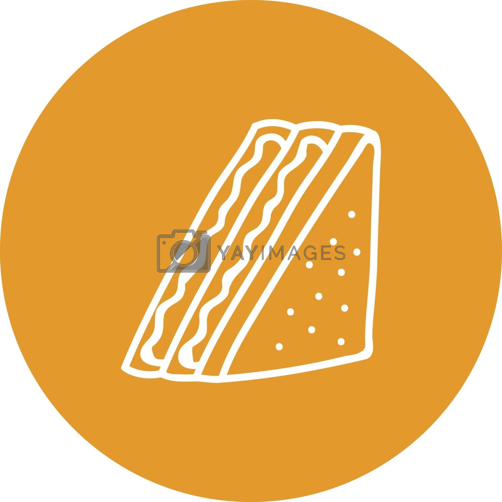 Royalty free image of Sketch of a white-colored sandwich over brown background vector  by Morphart