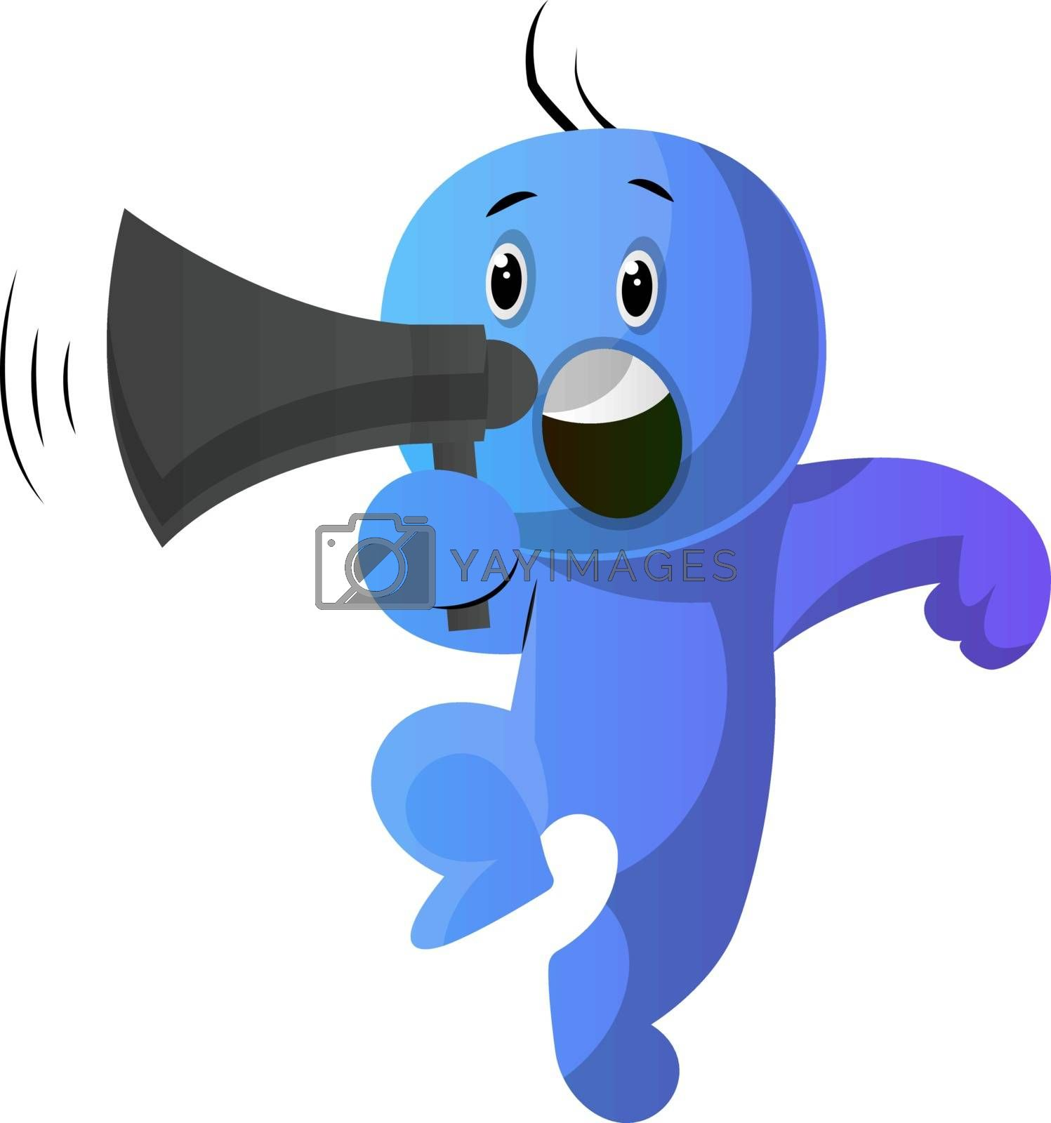 Royalty free image of Blue cartoon caracter holding a speakephone illustration vector  by Morphart