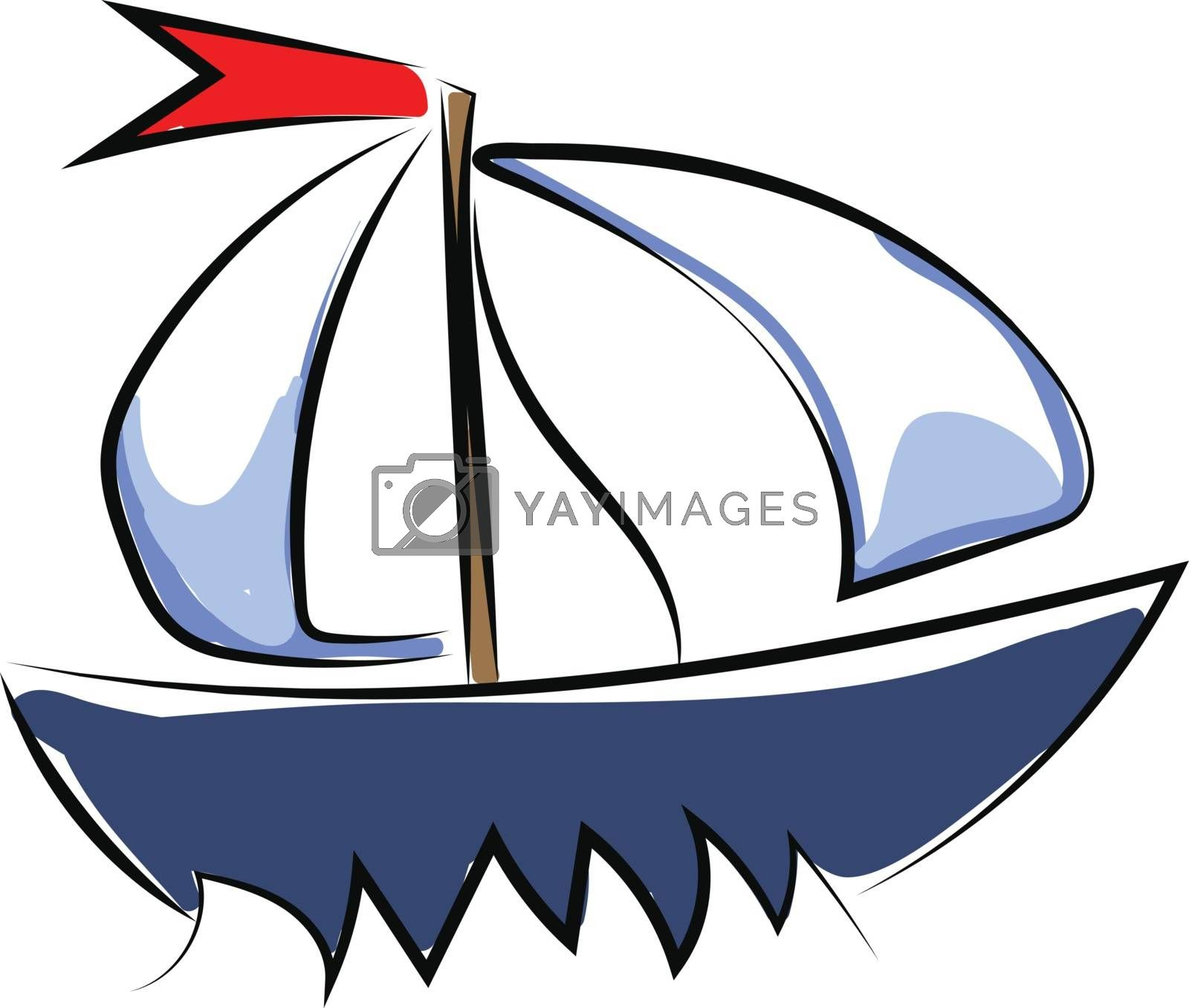 Royalty free image of Clipart of a blue-colored yacht set on isolated white background by Morphart