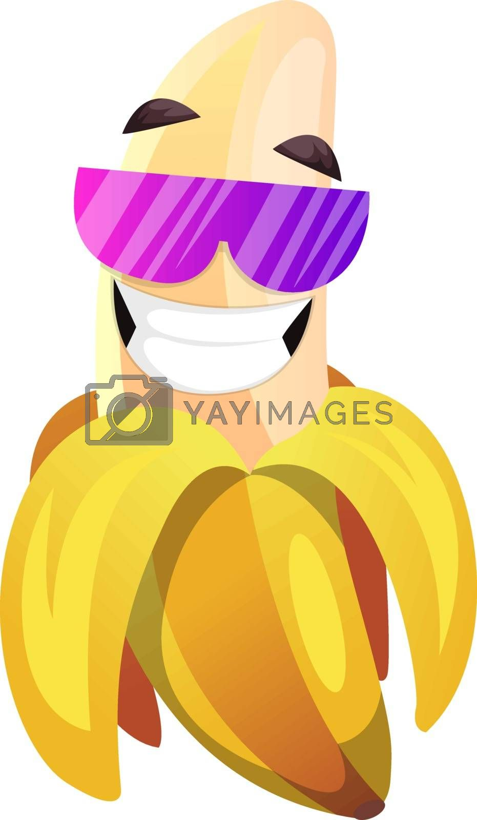 Royalty free image of Banana with pink sunglasses smiling illustration vector on white by Morphart