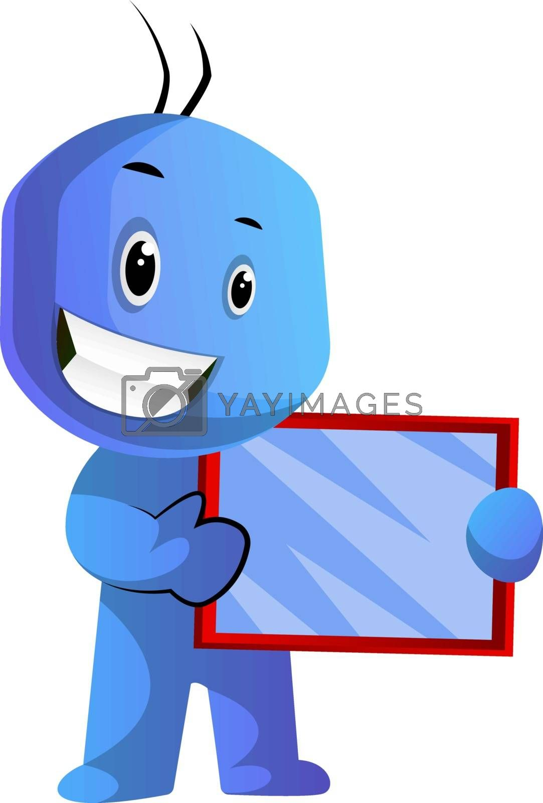 Royalty free image of Blue cartoon caracter holding a tablet illustration vector on wh by Morphart