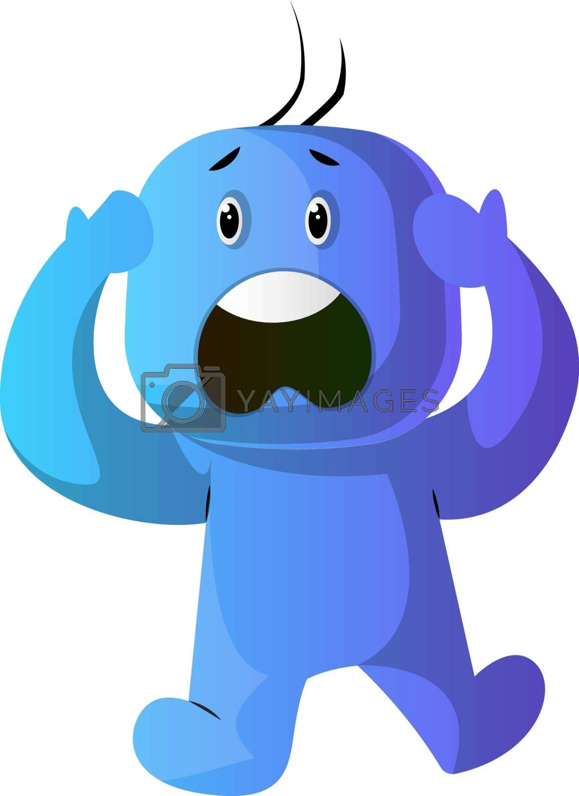 Royalty free image of Blue cartoon caracter panic illustration vector on white backgro by Morphart