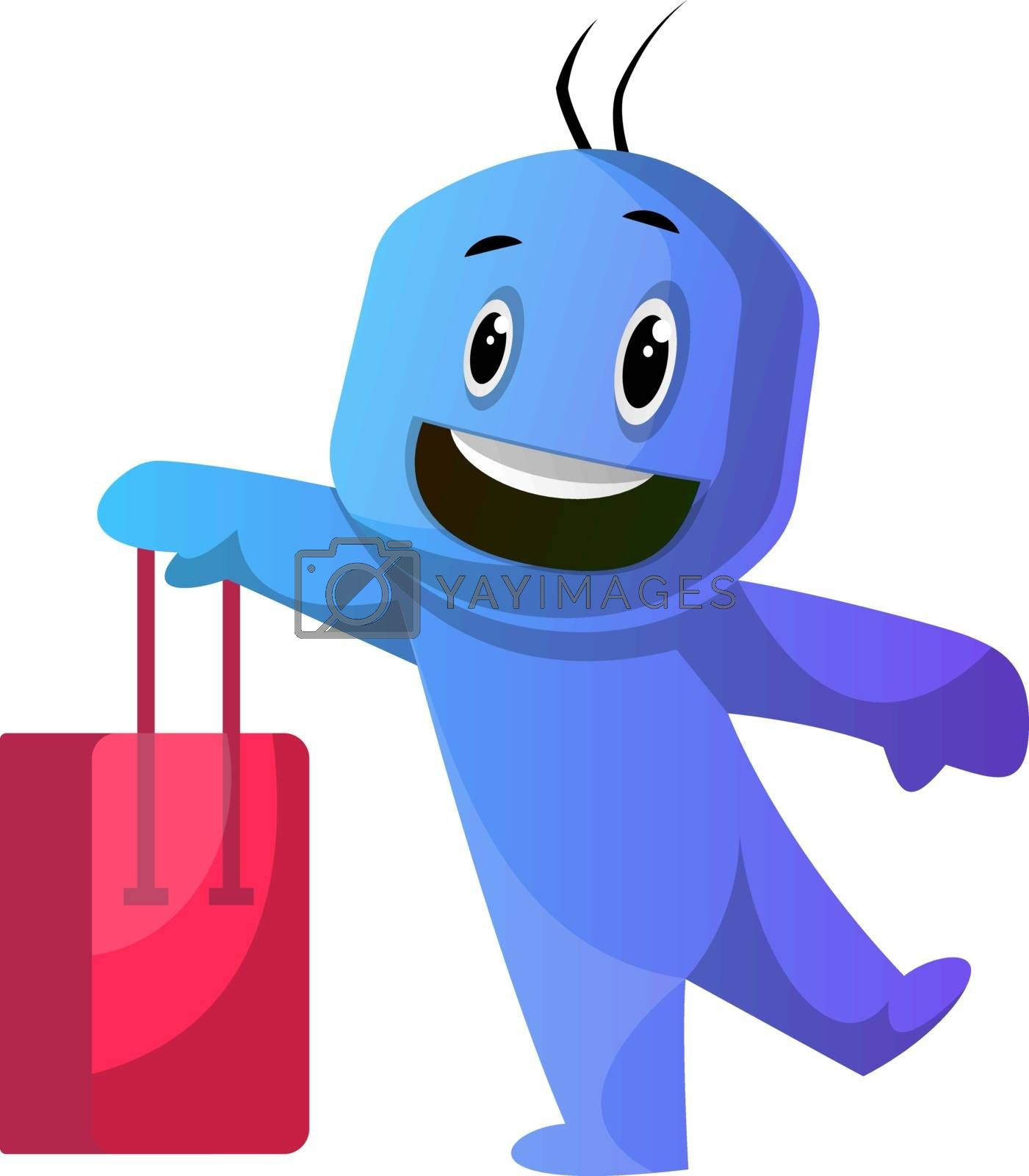 Royalty free image of Blue cartoon caracter holding red shoping bag illustration vecto by Morphart