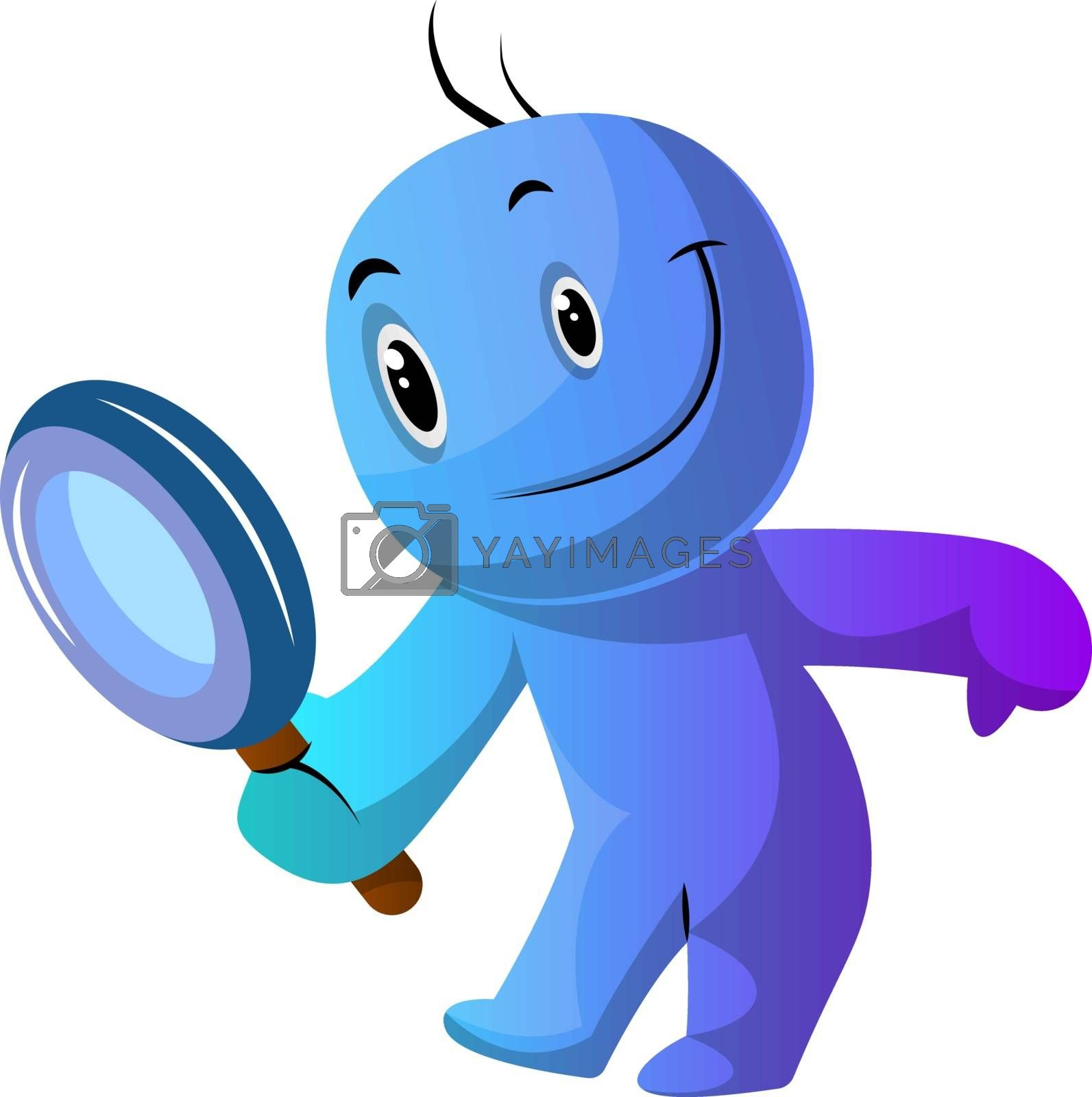 Royalty free image of Blue cartoon caracter holding magnifying glass illustration vect by Morphart