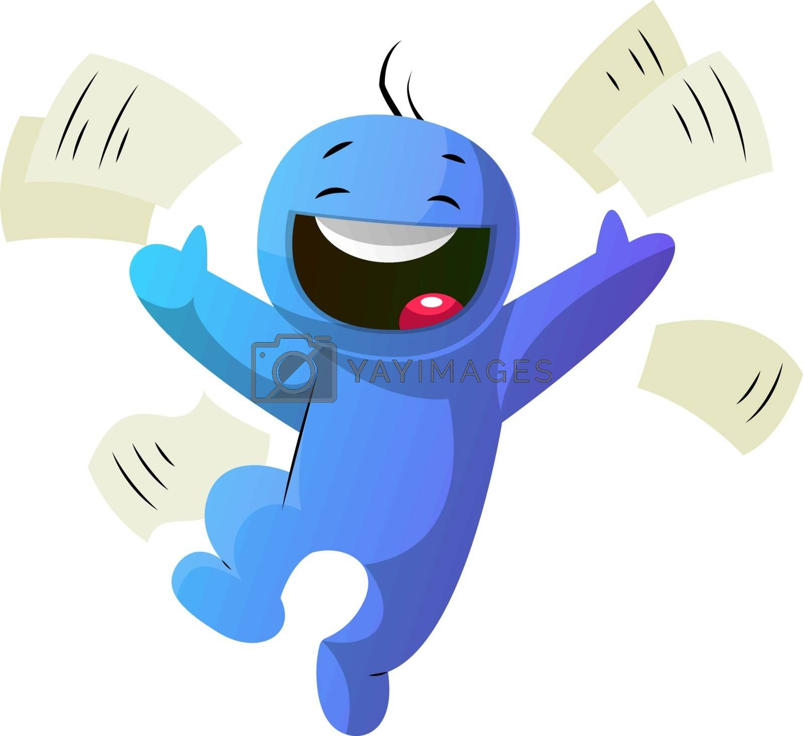 Royalty free image of Blue cartoon caracter so happy illustration vector on white back by Morphart