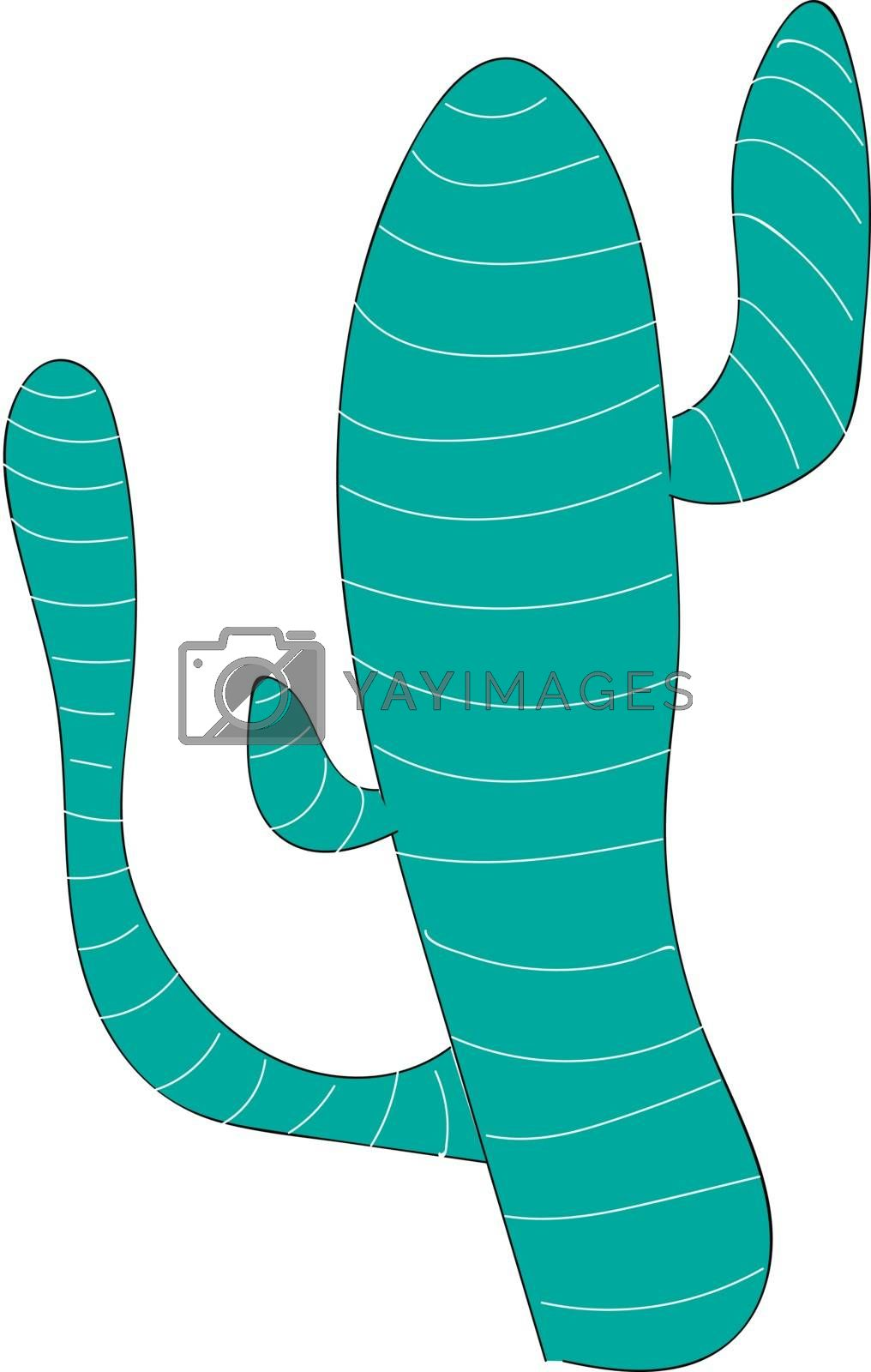 Royalty free image of Blue cactus with three branches illustration vector on white bac by Morphart