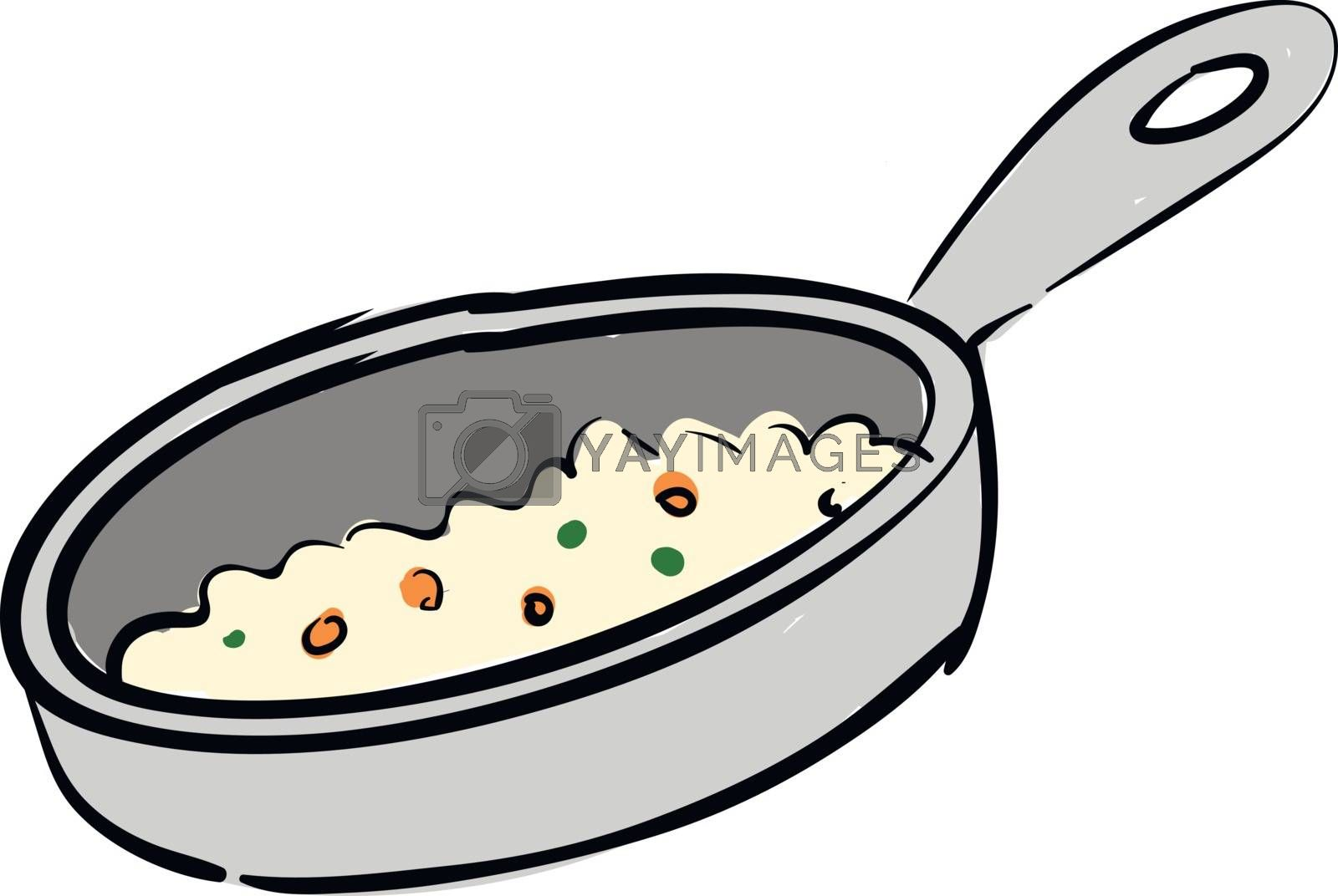 Royalty free image of Grey pan with cooked food illustration vector on white backgroun by Morphart