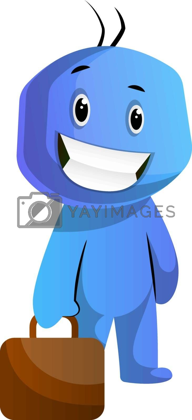 Royalty free image of Blue cartoon caracter holding a briefcase illustration vector on by Morphart