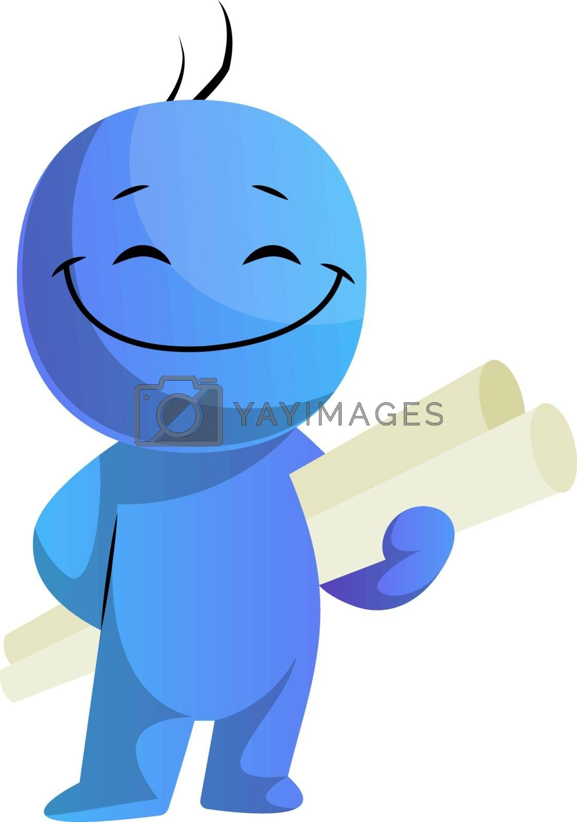 Royalty free image of Happy blue caracter with project papers illustration vector on w by Morphart