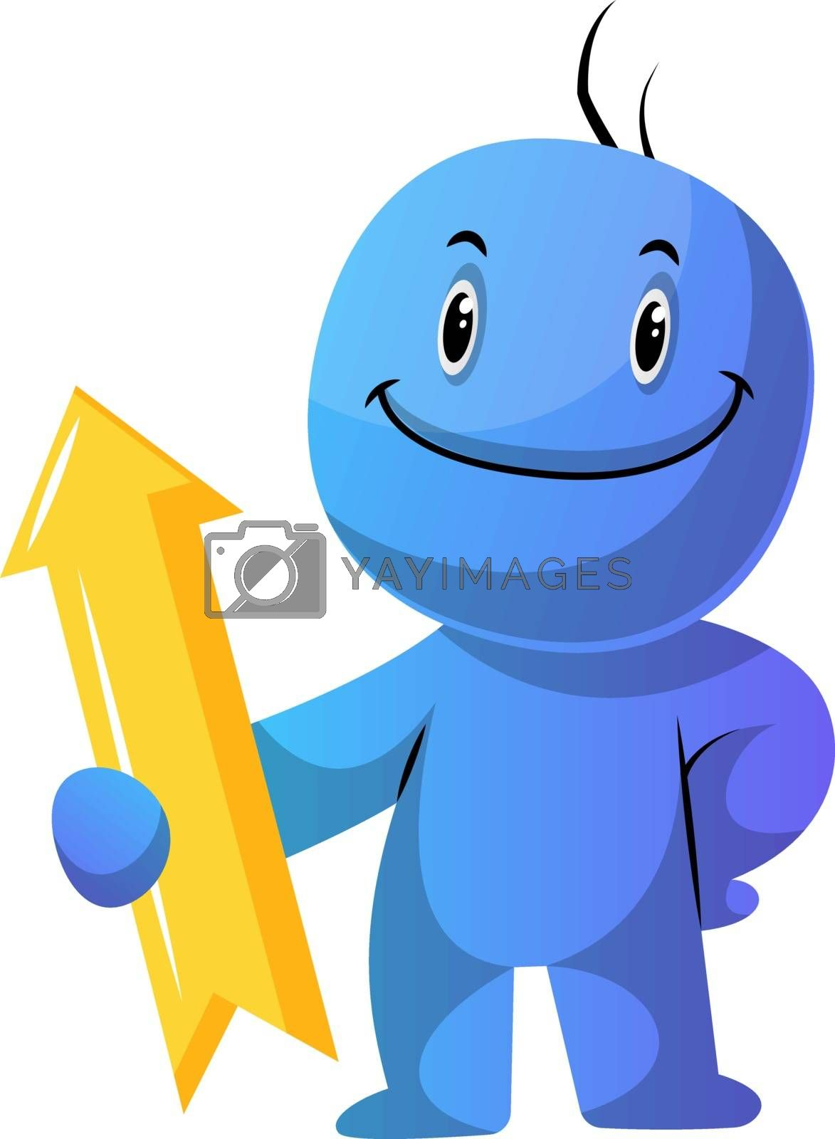 Royalty free image of Blue cartoon caracter with yellow direction sign illustration ve by Morphart