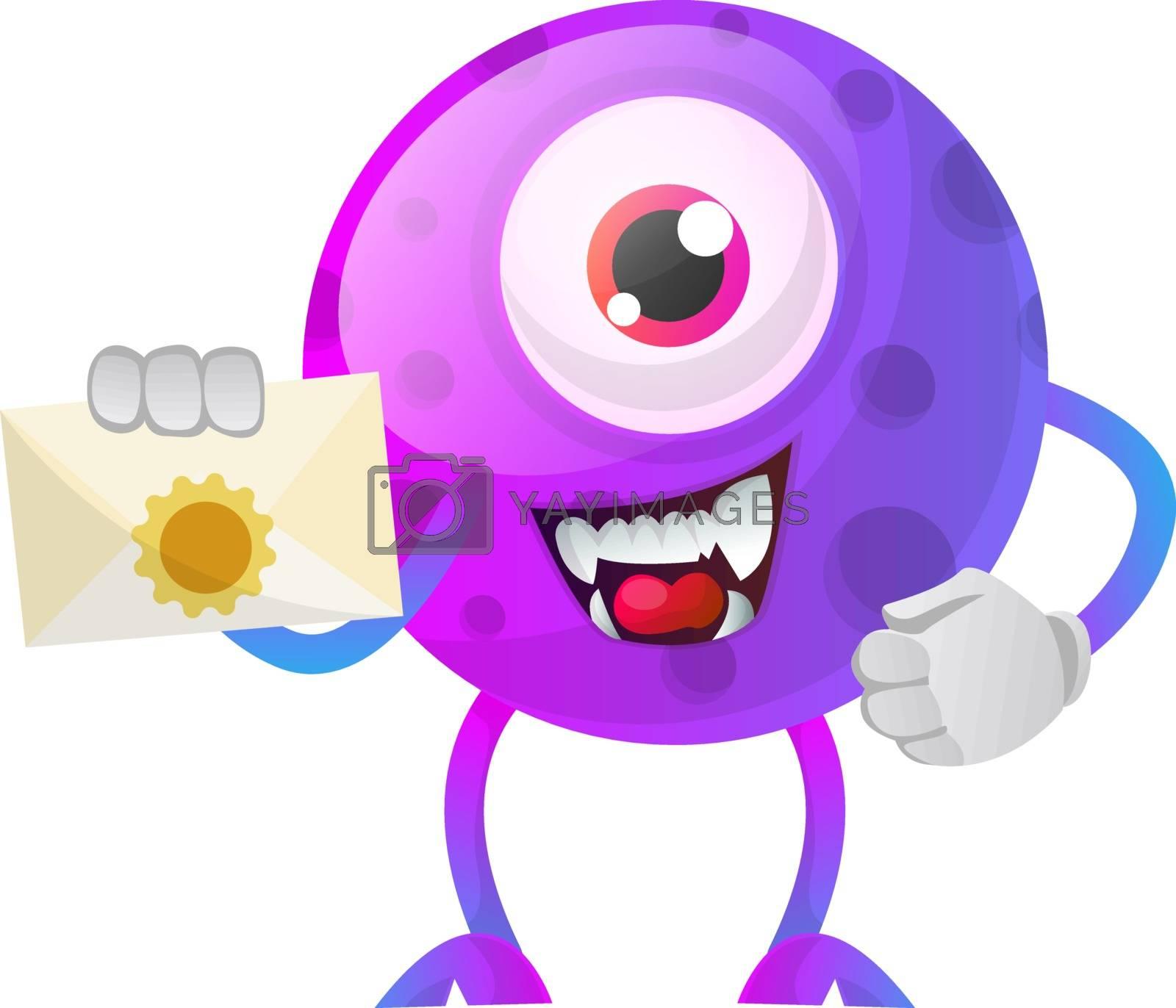 Royalty free image of Purple monster holding envelope illustration vector on white bac by Morphart