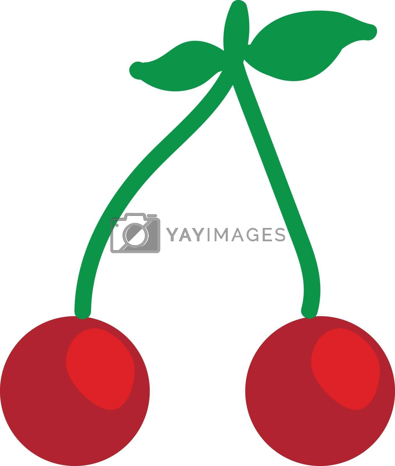 Royalty free image of Pair of red cherries with leaves illustration vector on white ba by Morphart